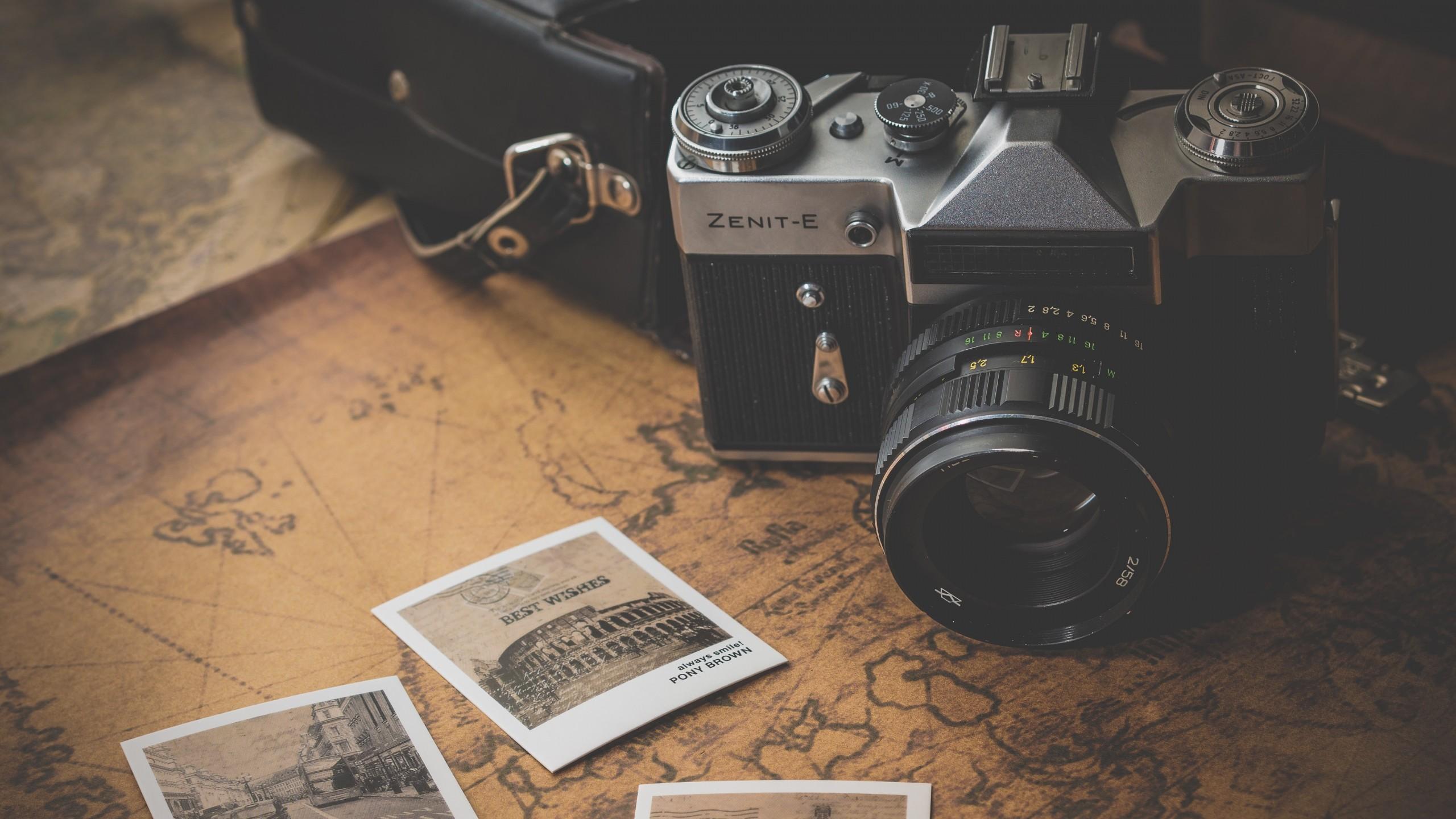 Wallpaper zenit, retro, camera, photos, map
