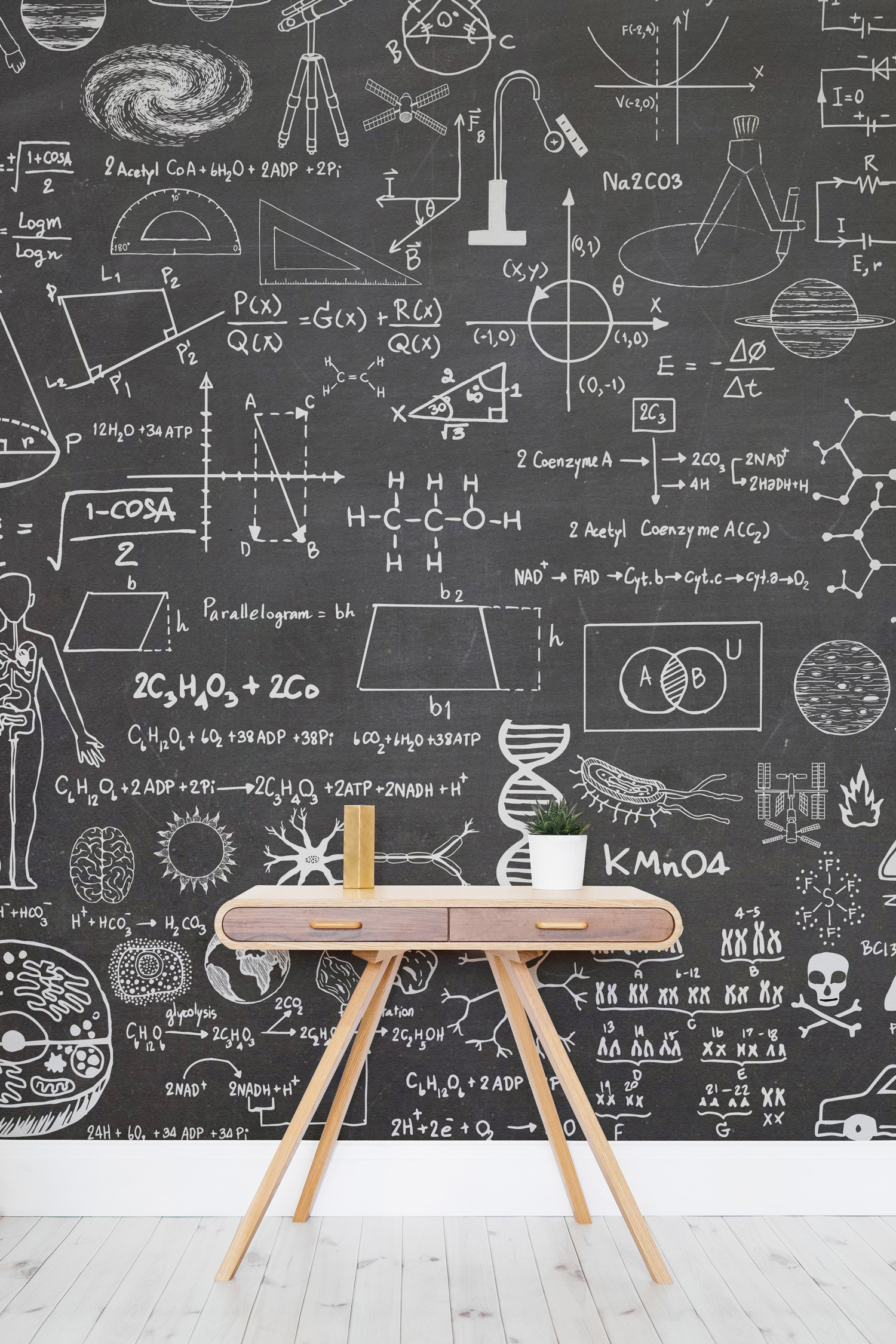 This striking wallpaper design takes the classic chalkboard