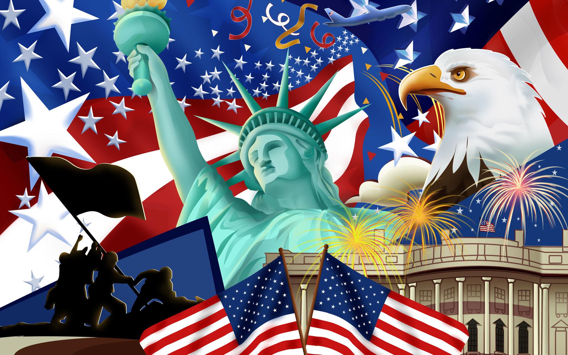 American Flag and Status of Liberty Wallpaper HD.
