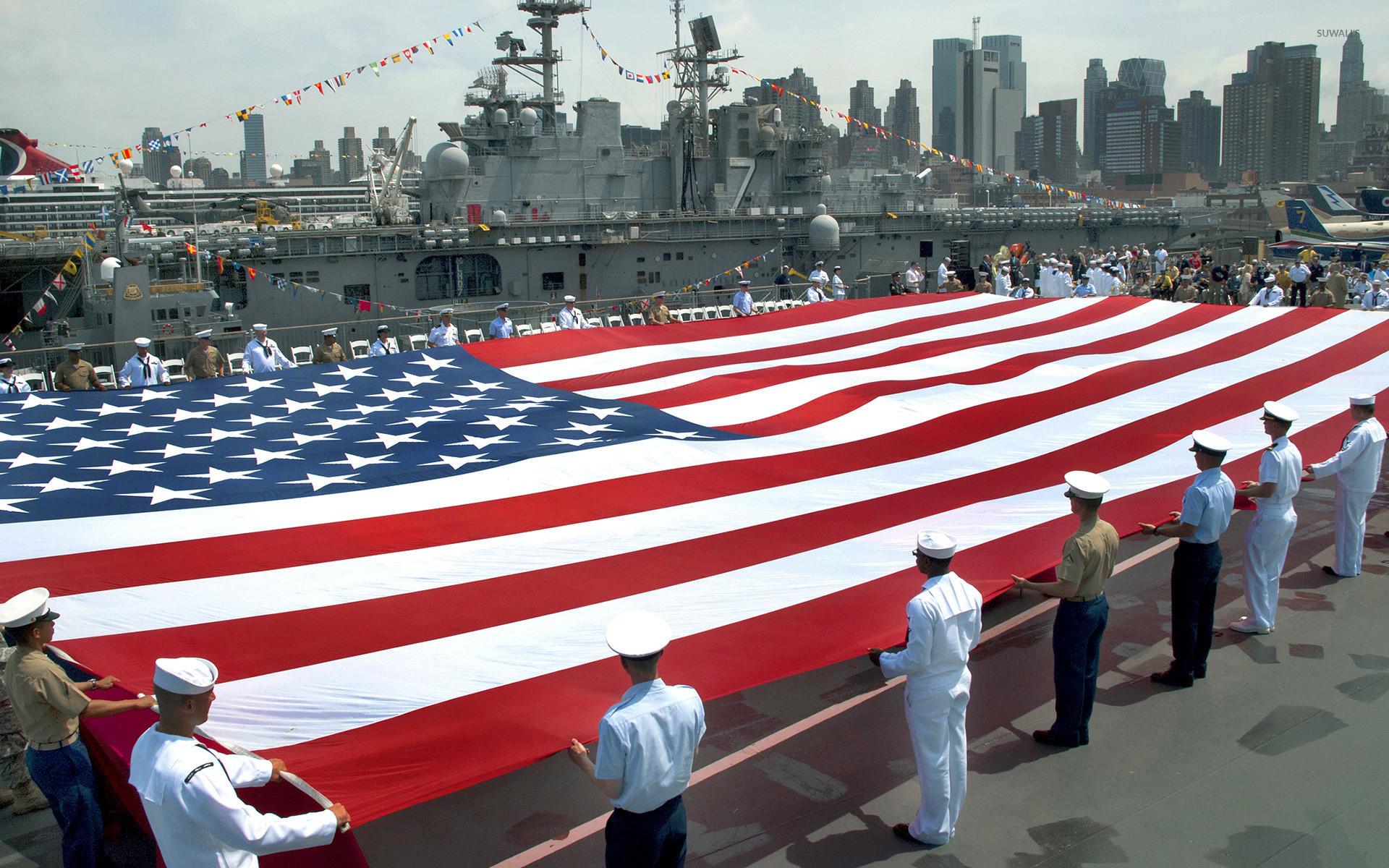 USA flag in Intrepid Sea, Air & Space Museum wallpaper jpg
