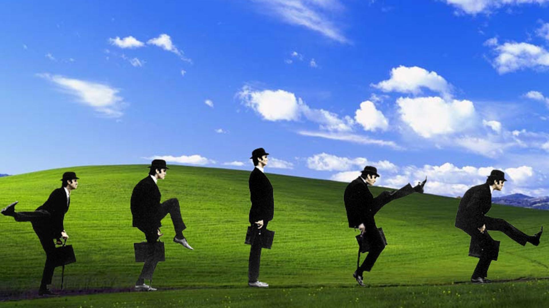 Microsoft windows monty python windows xp silly walk wallpaper .