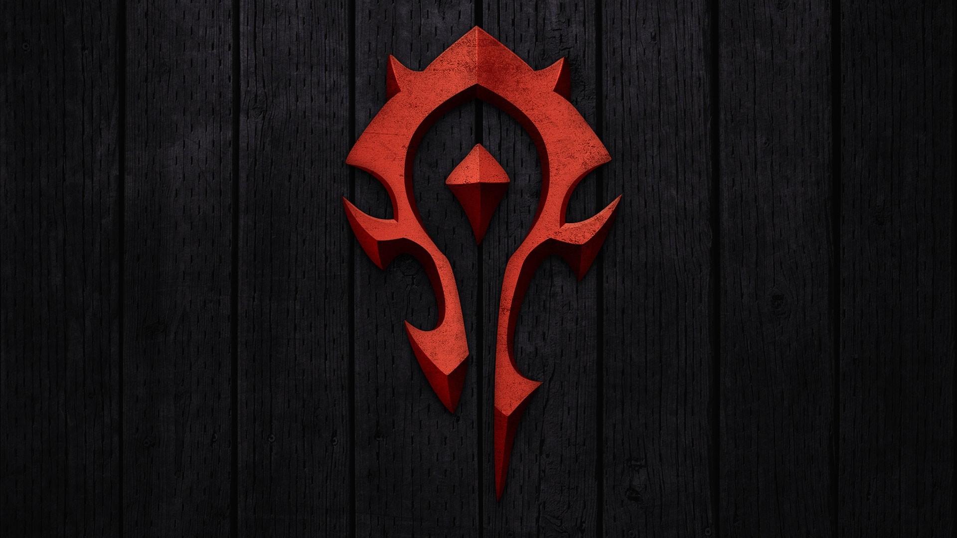 Preview wallpaper world of warcraft, horde, symbol, background, red  1920×1080