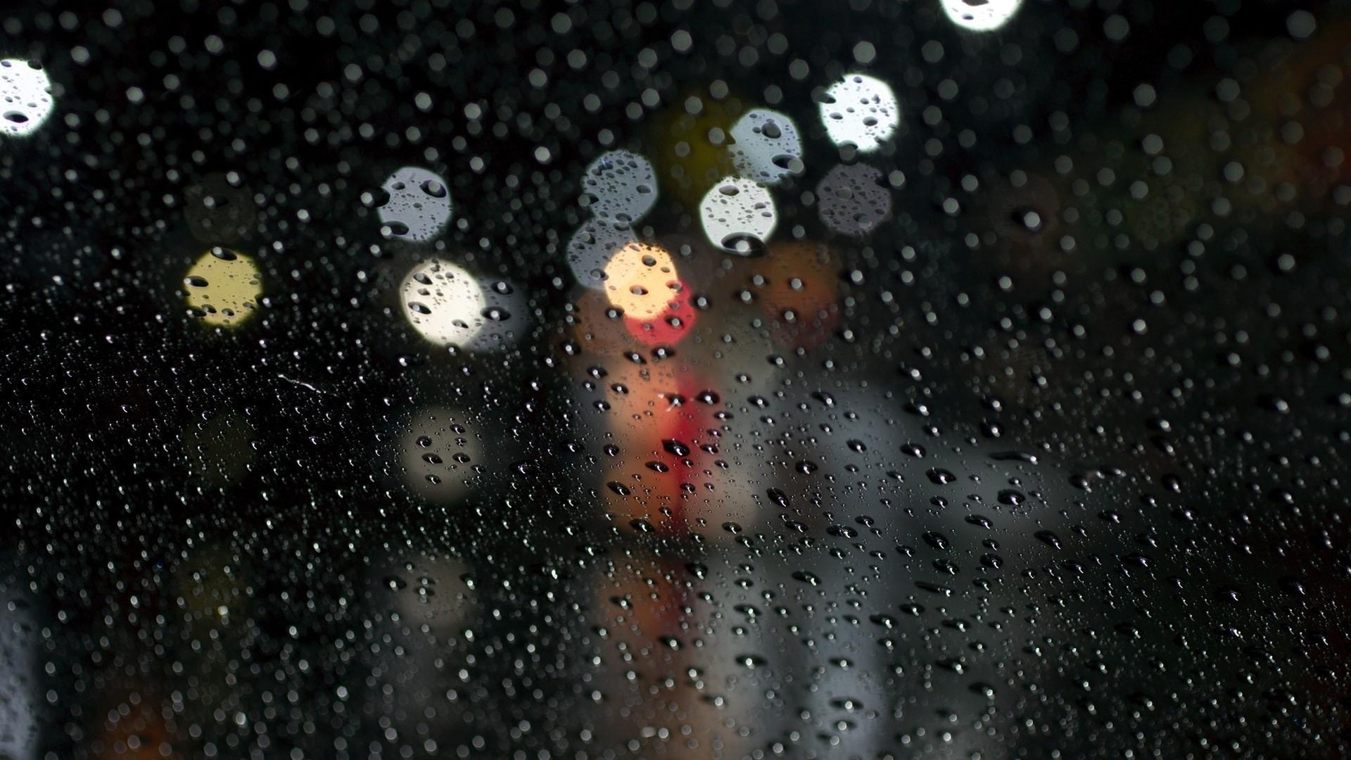 Preview wallpaper rain, glare, surface, drops 1920×1080