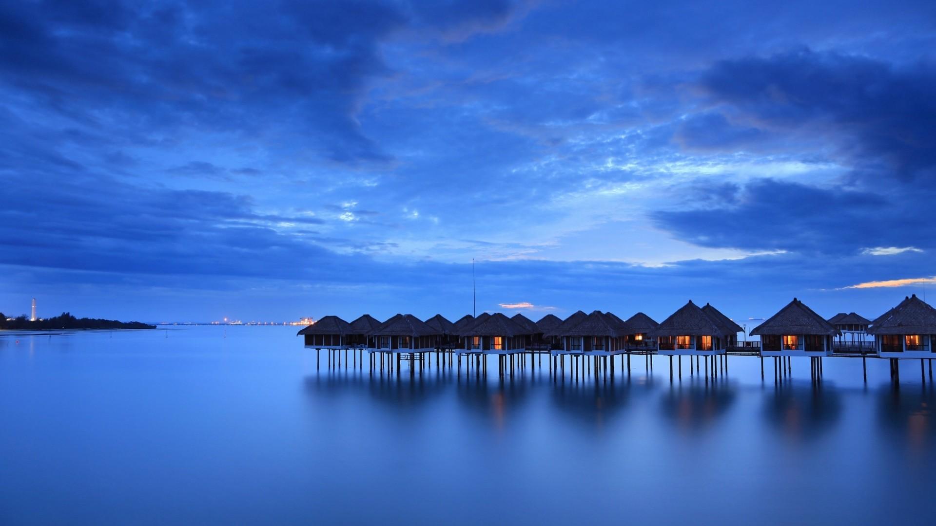 Preview wallpaper calm, sea, houses, beach, malaysia 1920×1080