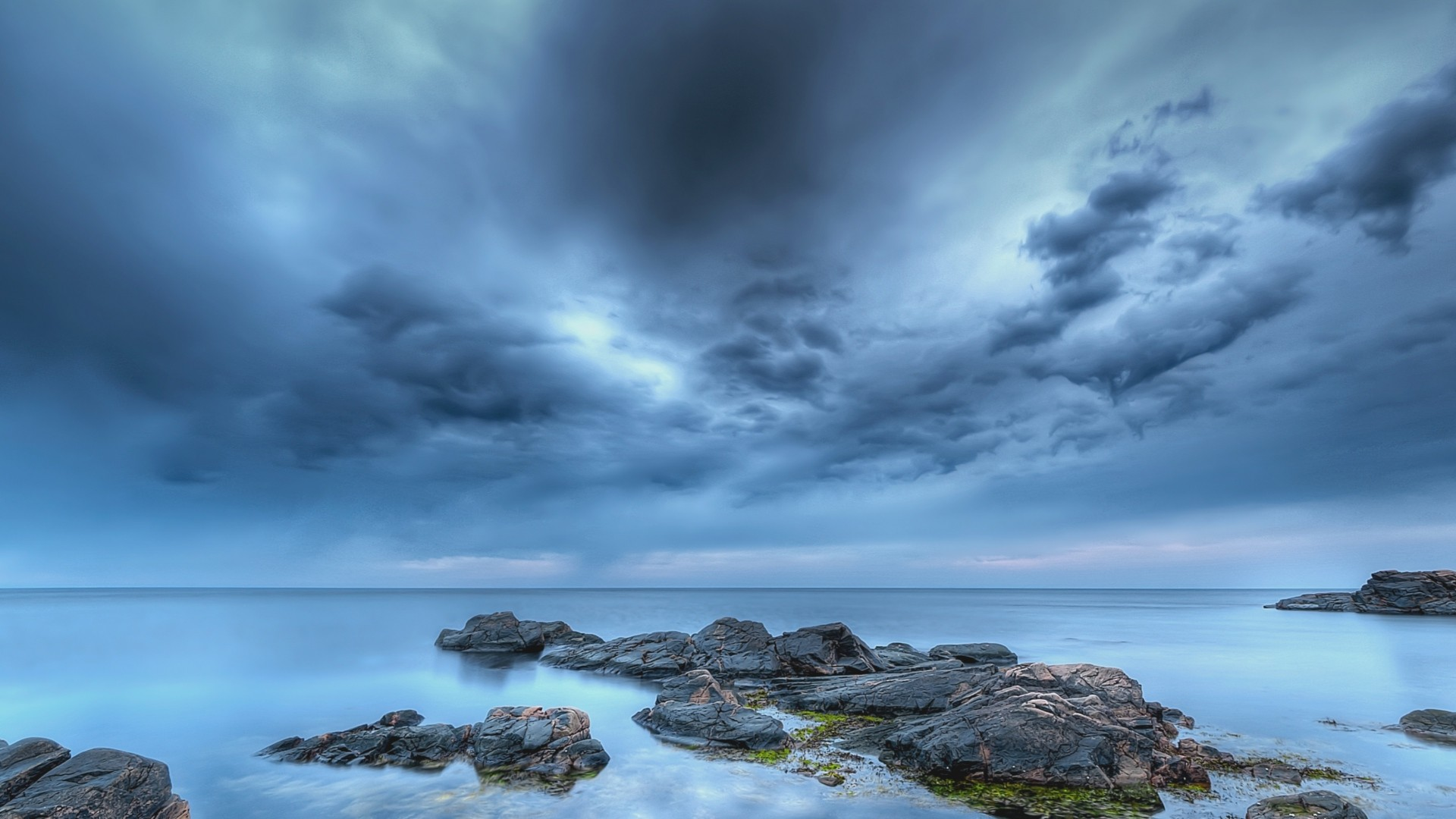 Preview wallpaper stones, calm, sky, cloudy, emptiness 1920×1080