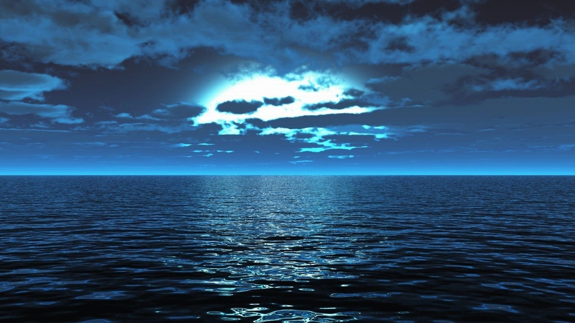 Preview wallpaper sea, surface, calm, smooth surface, light, night 1920×1080