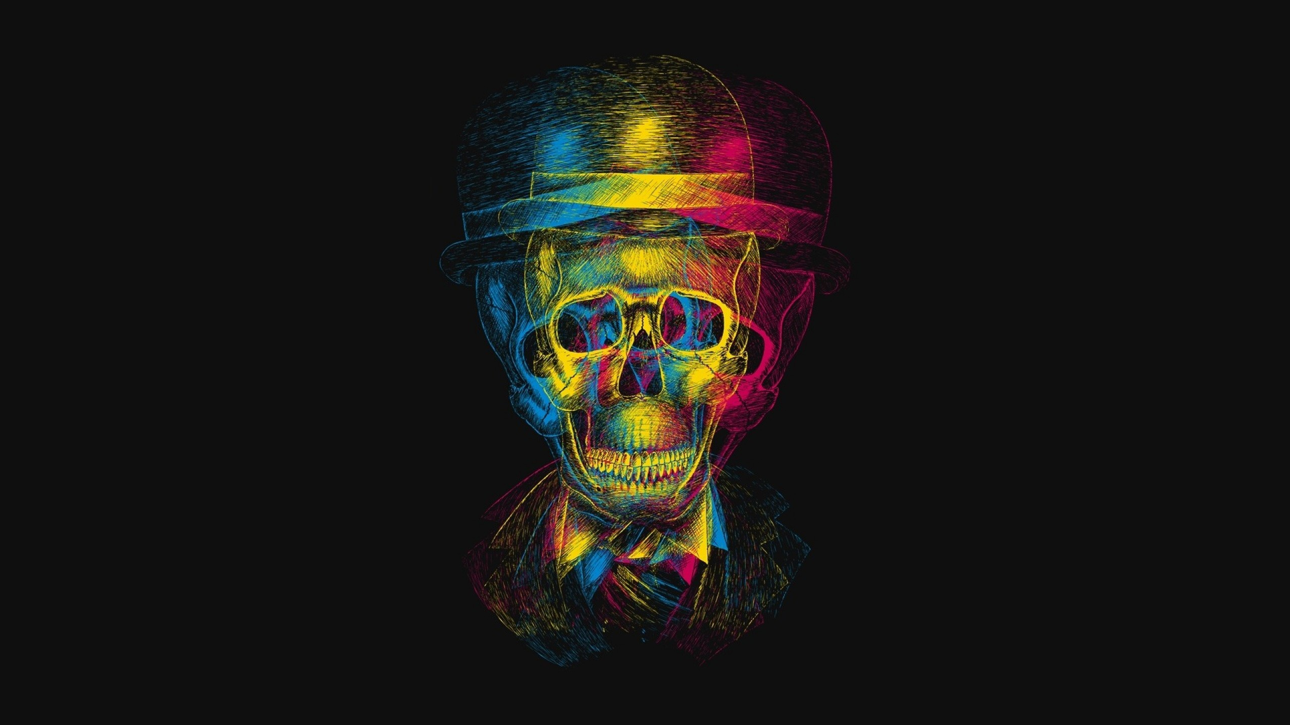 Preview wallpaper skull, hat, anaglyph, drawing 2560×1440