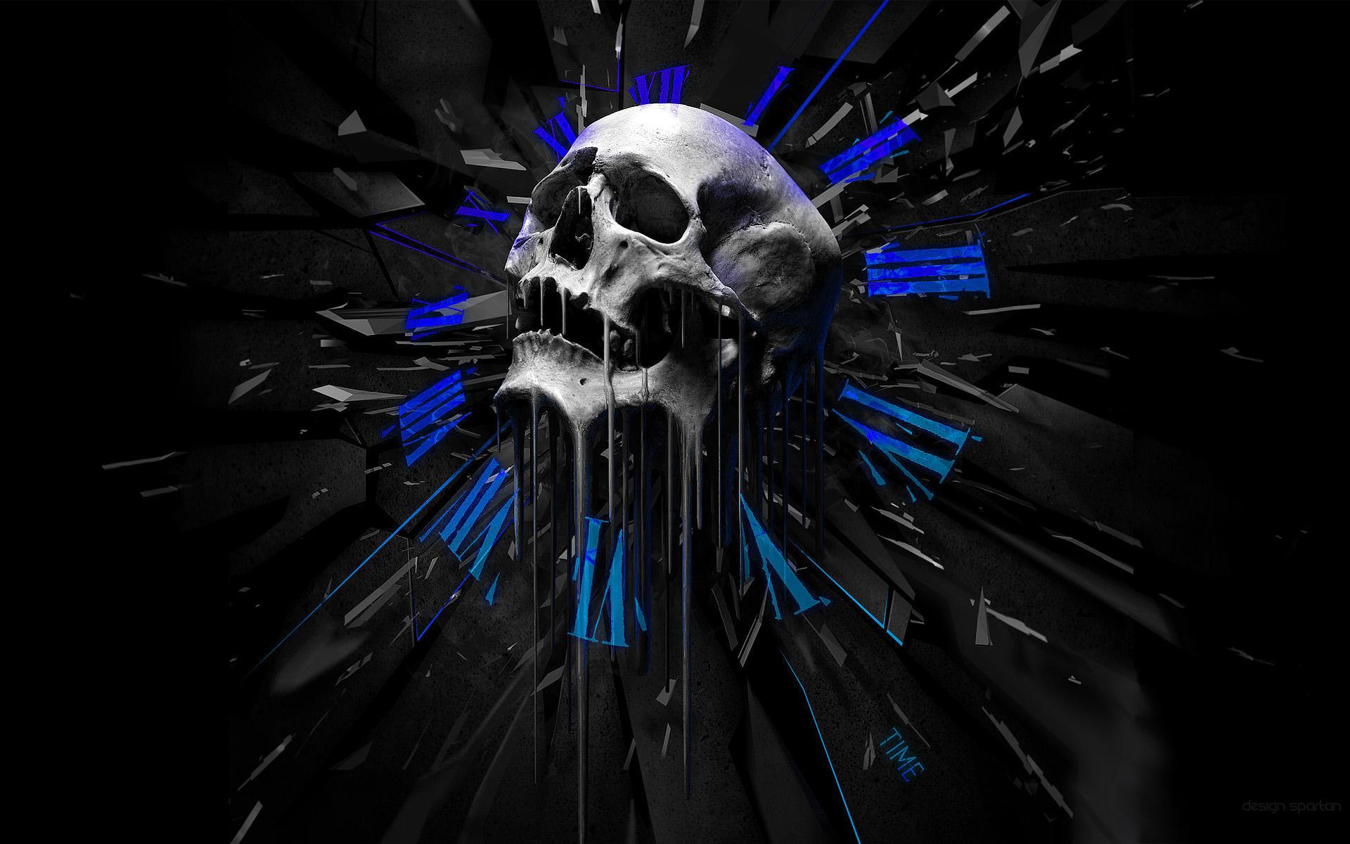 Download Skull Melting Clocks Wallpaper | Full HD Wallpapers