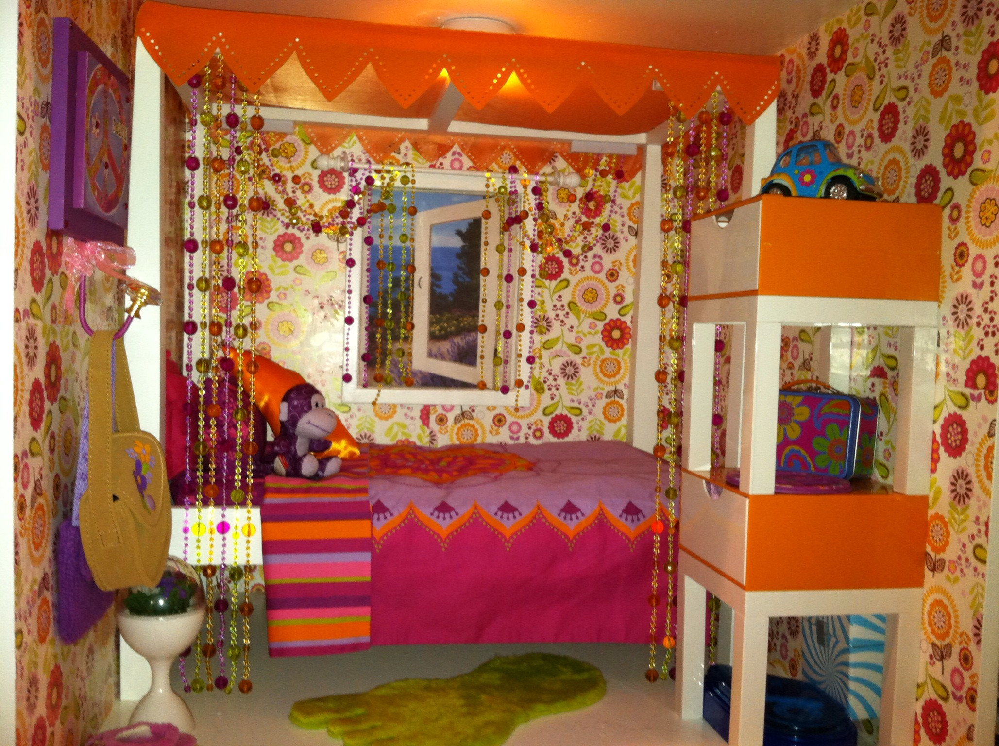 Julie's Bedroom set from AG. Wallpaper,scrapbook paper from JoAnn's, record  player,