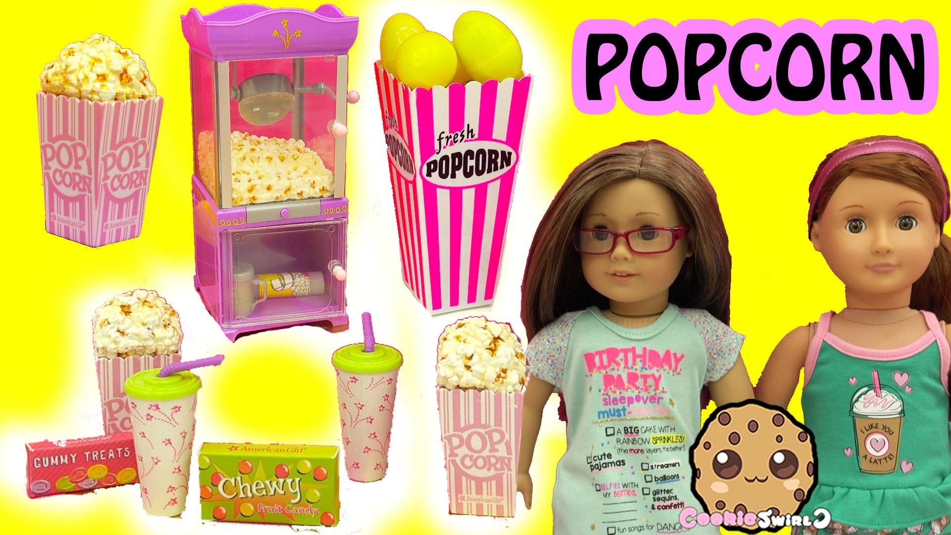 American Girl Doll Popcorn Machine & Pop Corn Box of Surprise Eggs and  Mystery Blind Bags – YouTube
