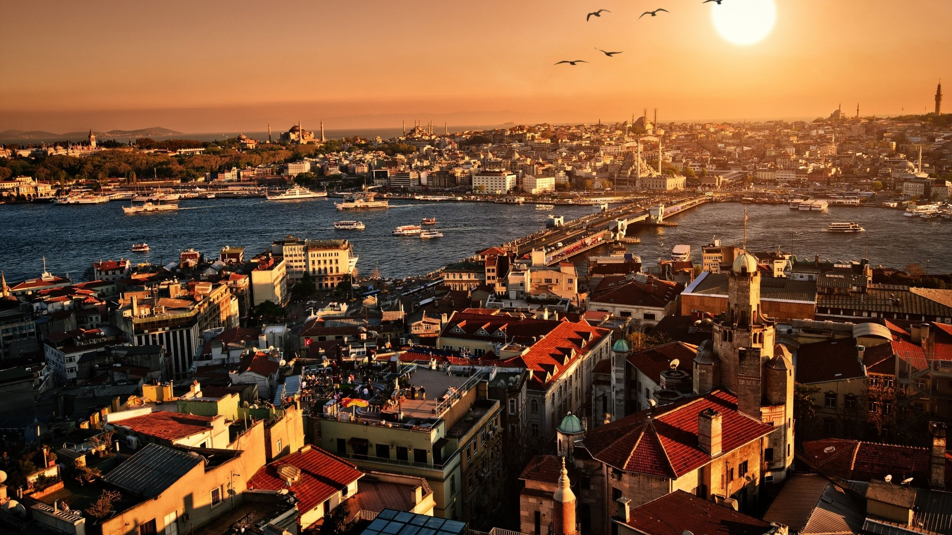 Preview wallpaper istanbul, sunset, top view, building 1920×1080