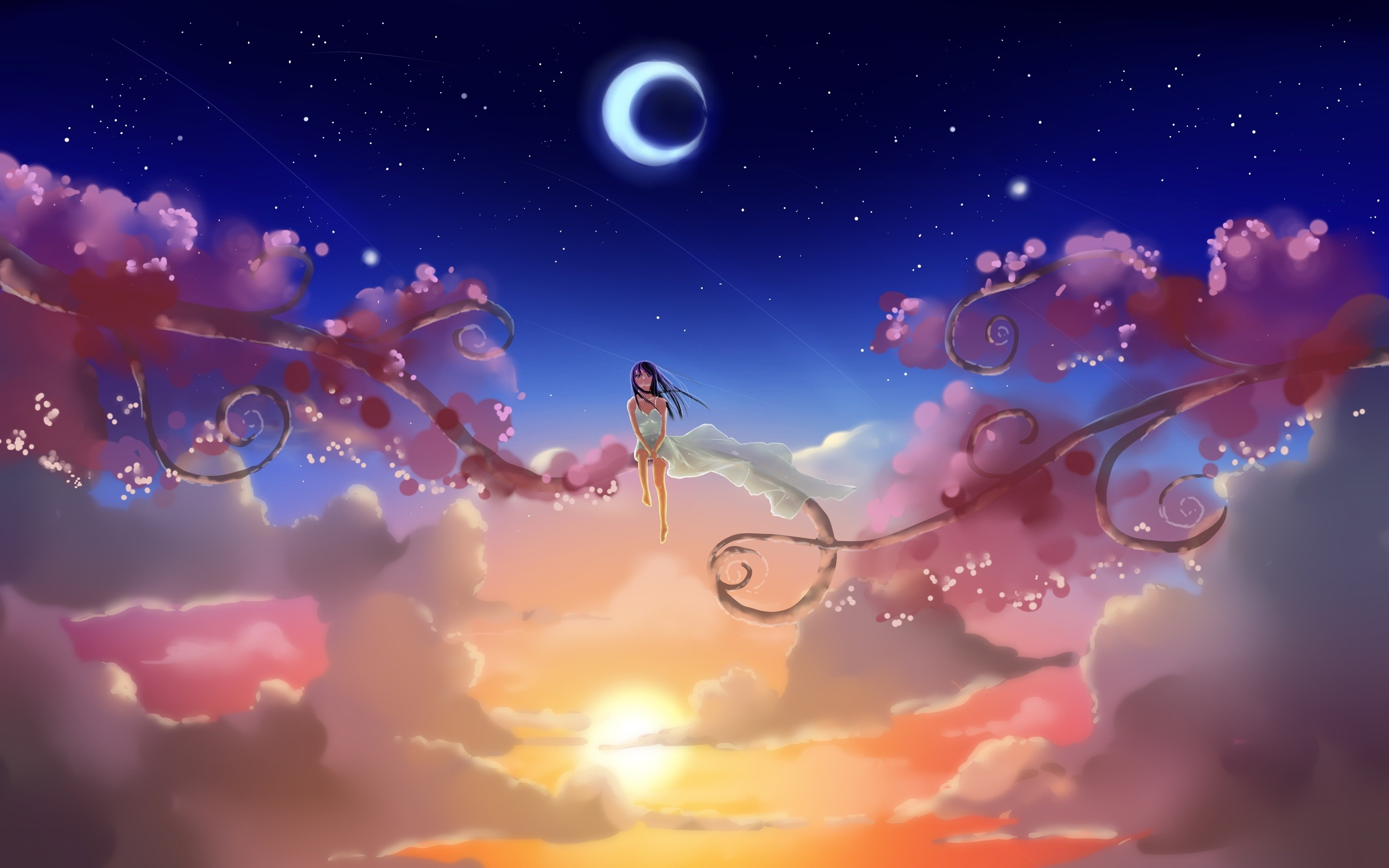 Description: The Wallpaper above is Girl sitting sky Wallpaper in  Resolution 2880×1800. Choose your