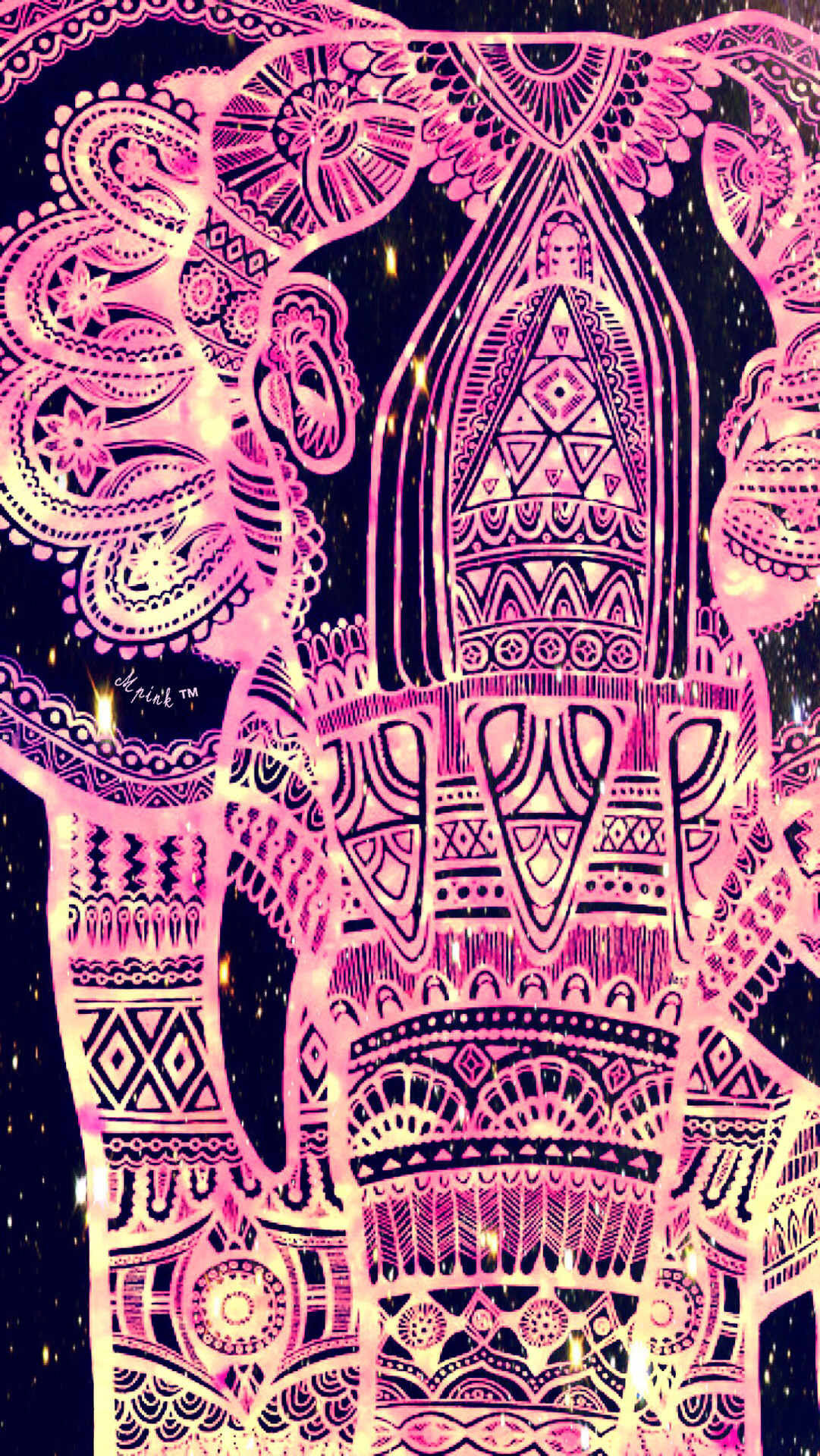 Tribal Pink Elephant Wallpaper/Lockscreen Girly, Cute, Wallpapers for  iPhone, Android,