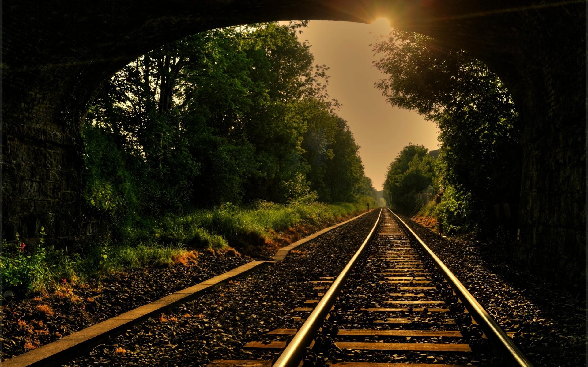 train railroad tracks mood wallpaper background