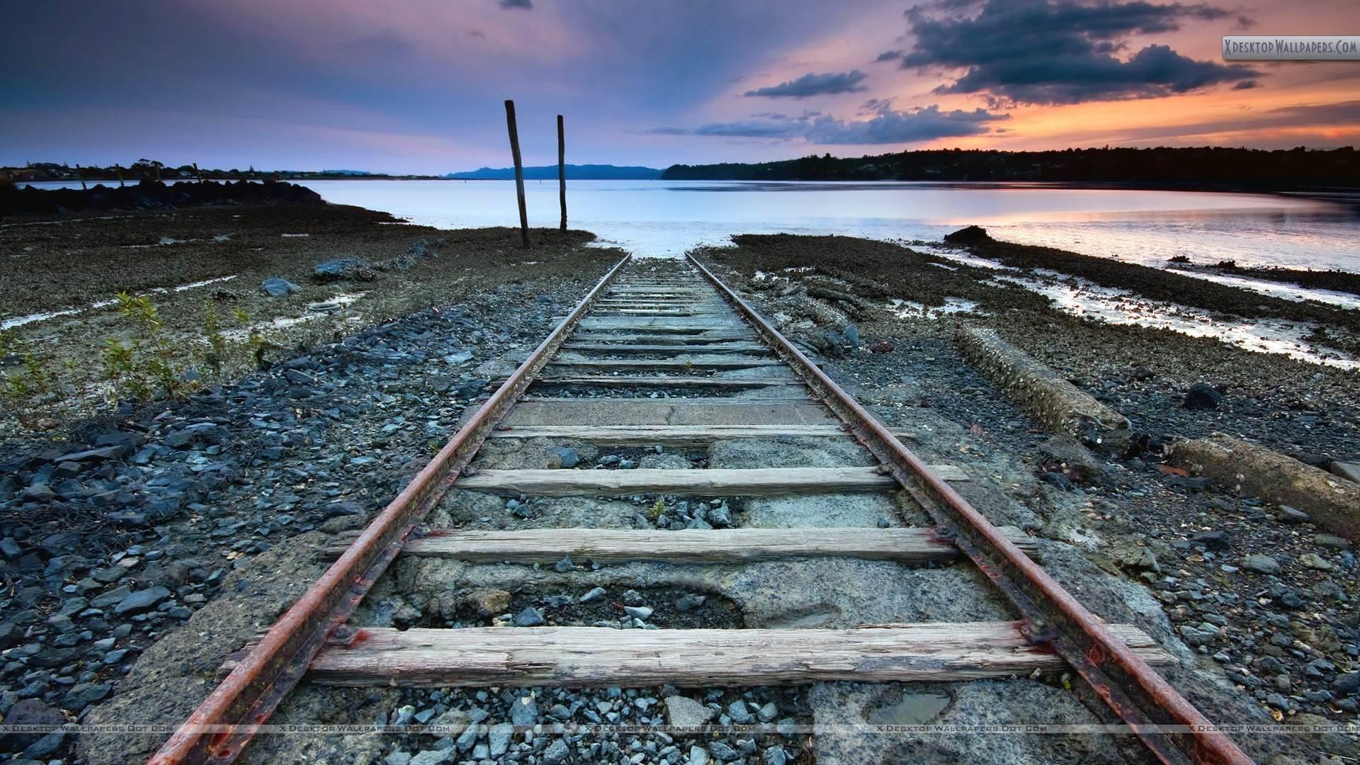 Rail Tracks Dead End Near Sea
