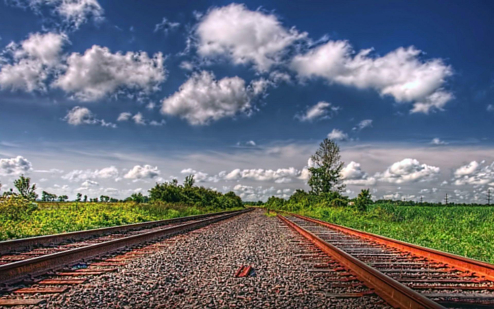 Railroad tracks hdr landscapes wallpaper
