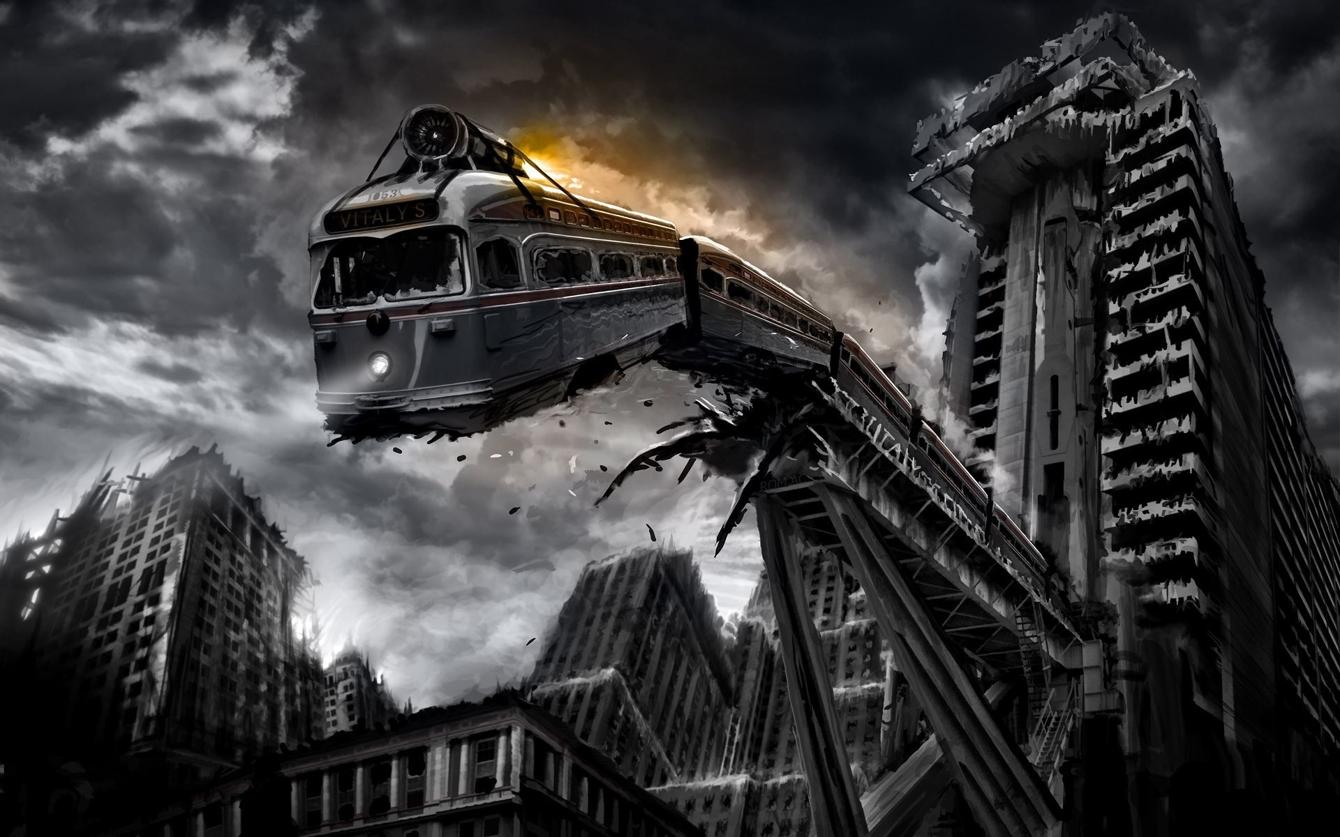 Download and View Full Size Photo. This Train FAlling from Tracks …