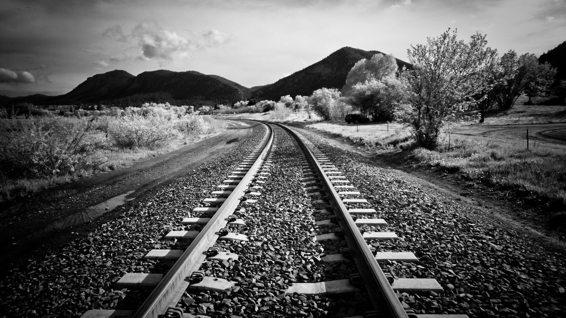 mountains landscapes nature trains grayscale monochrome trainway black  white HD Wallpapers