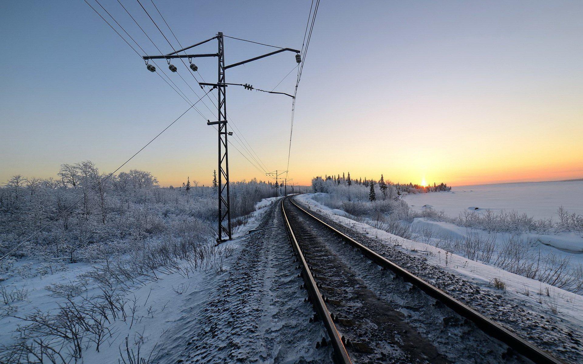 Railroad Winter Snow Morning Train Tracks