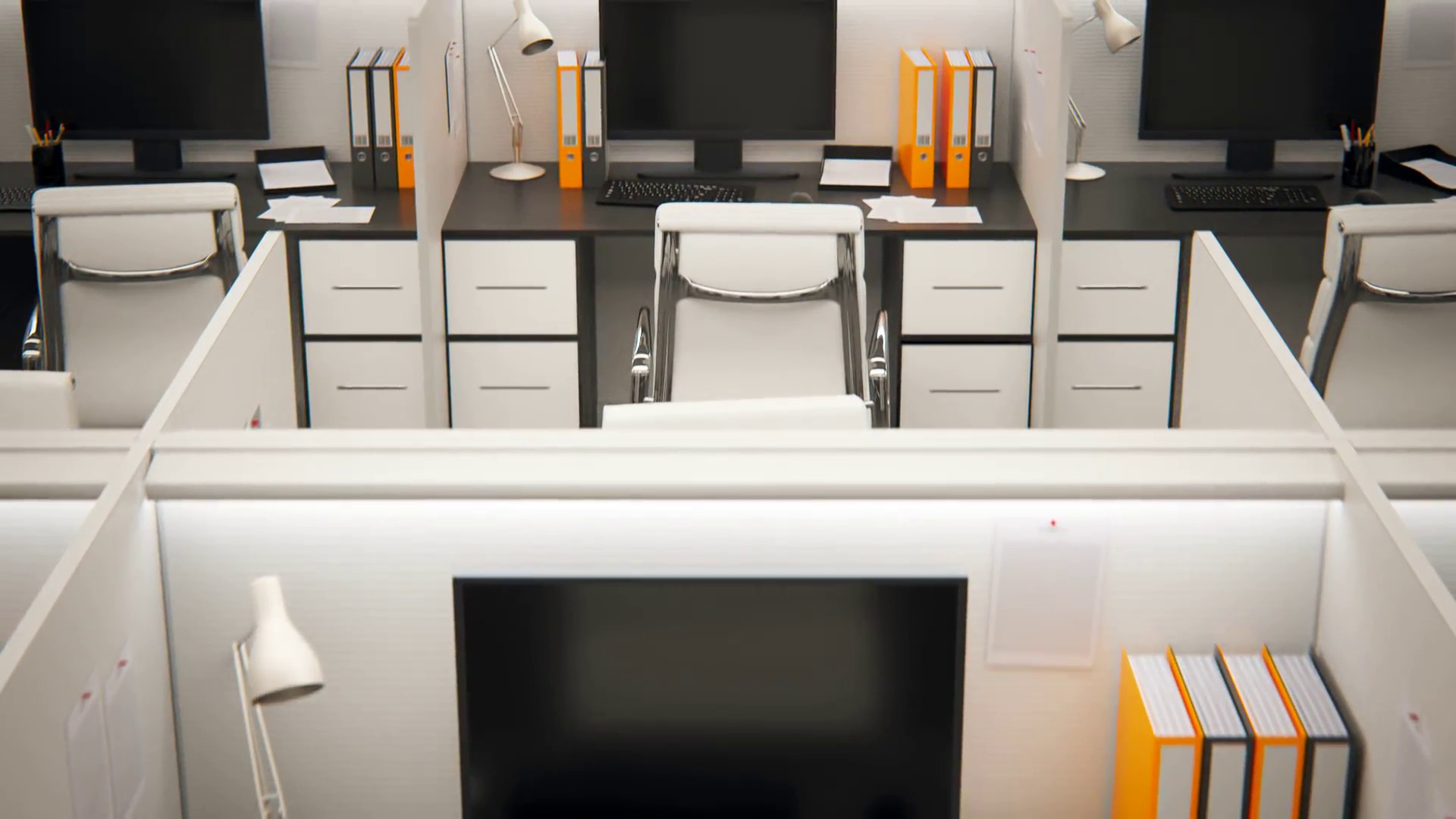 Cubicles In Empty Office. Loop Animation Motion Background – VideoBlocks