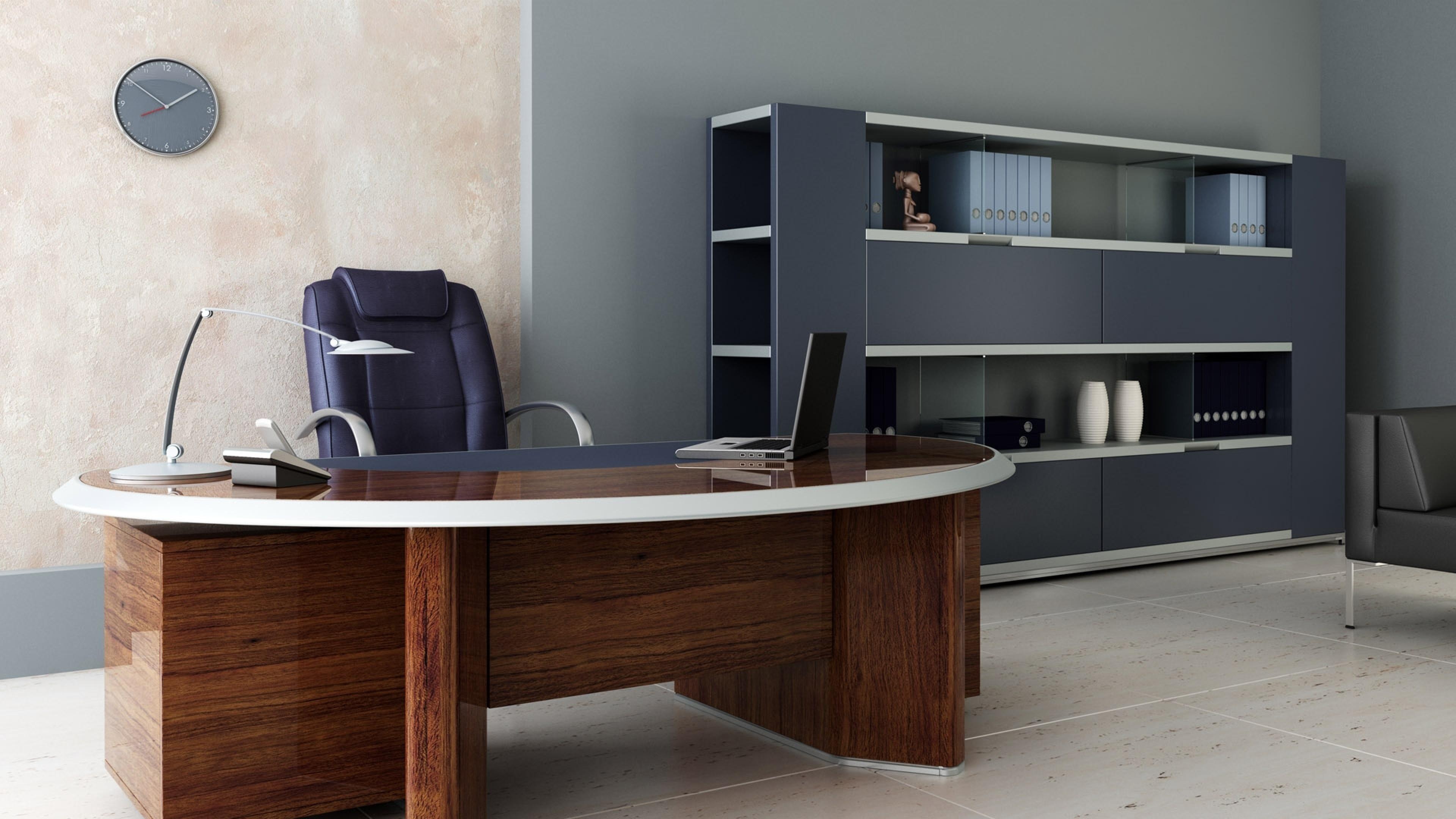 … Shelves Office Desk Wallpaper