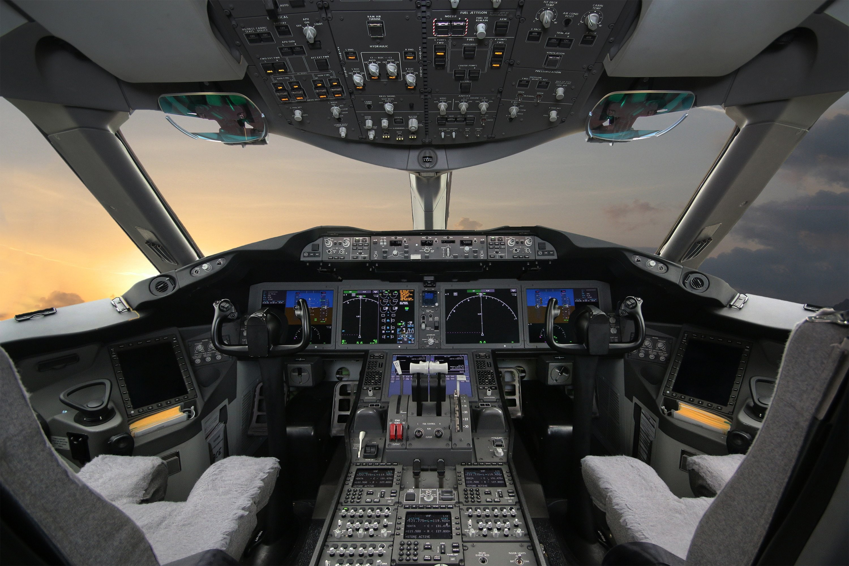 Boeing 787 Cockpit During Pre Flight Checks For The Second Revenue