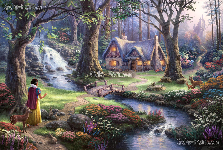 Download wallpaper Thomas Kinkade, princess, Disney, Art free .