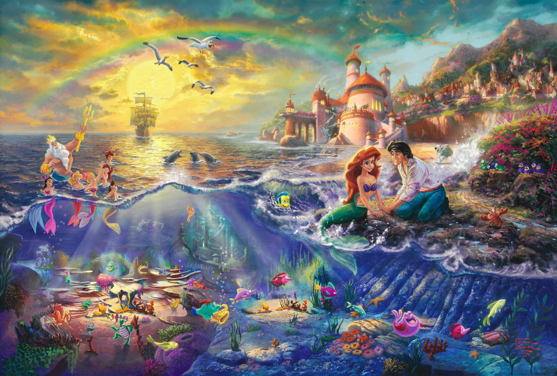 Wallpaper the little mermaid, thomas kinkade, painting, walt .