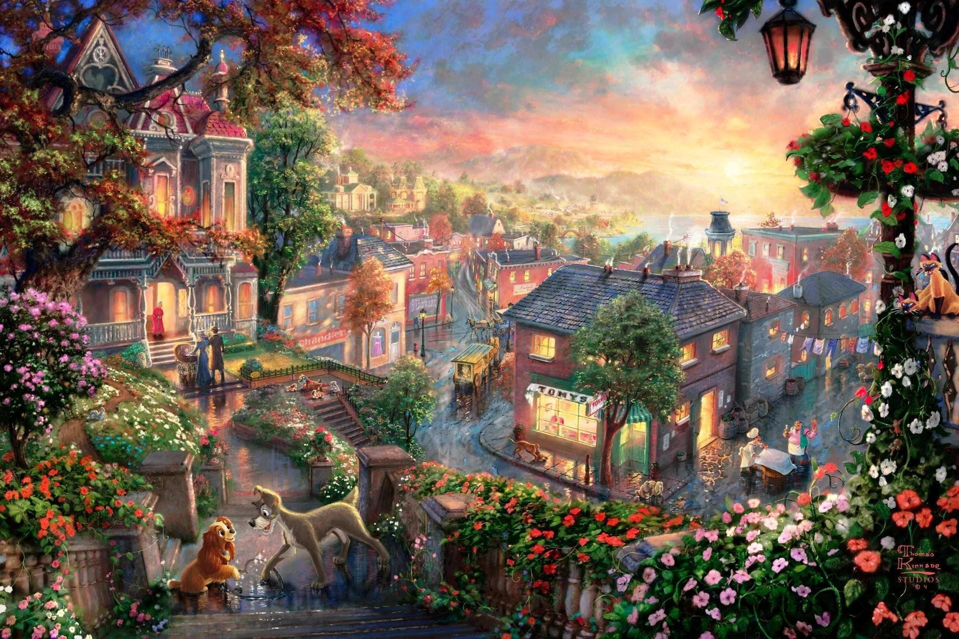 lady and the tramp thomas kinkade thomas kinkade studios walt disney  painting cartoon painting thomas kinkade