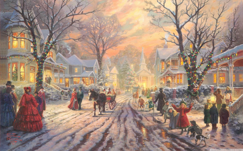 Thomas Kinkade Christmas Wallpaper » WallDevil – Best free HD .