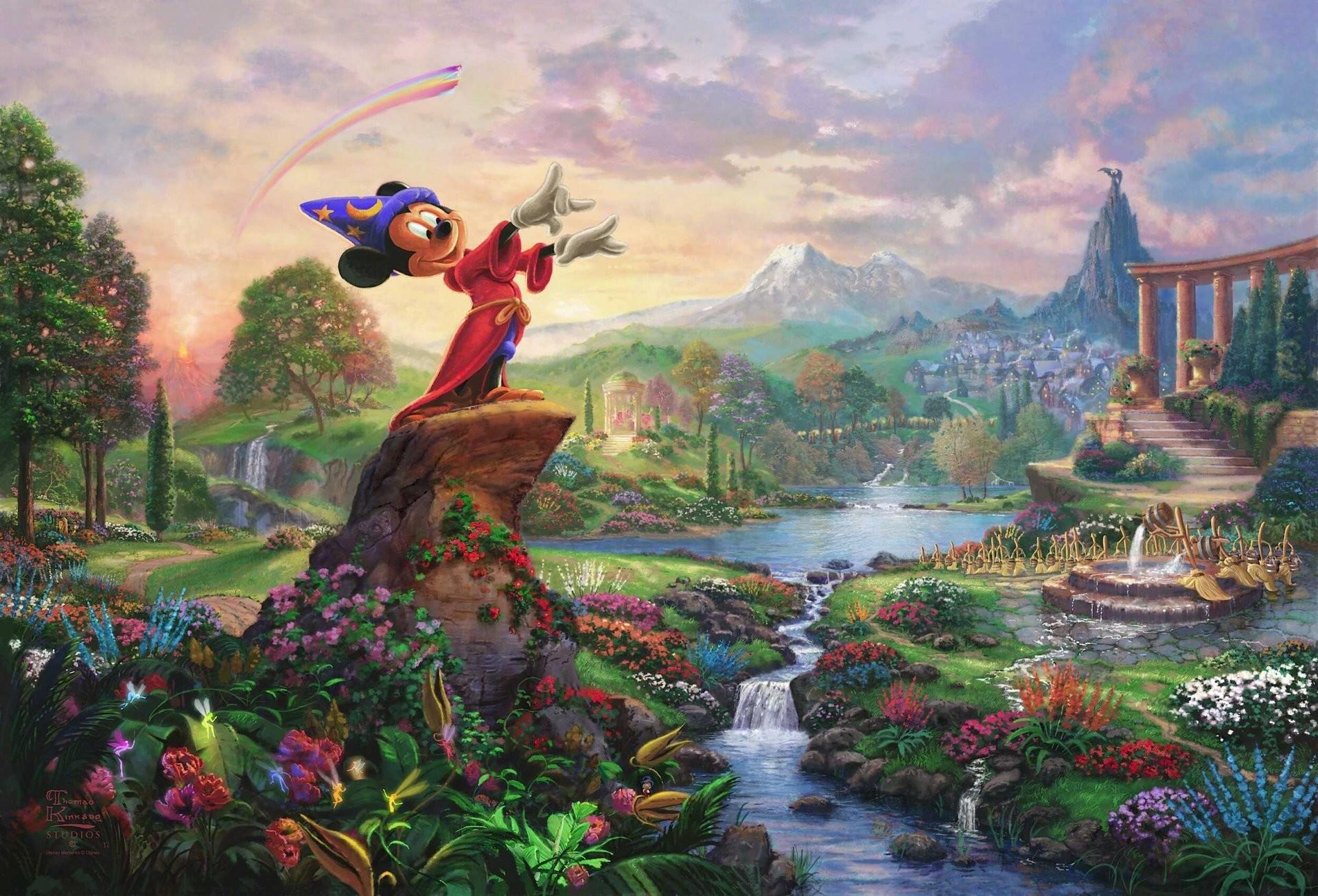 fantasia thomas kinkade painting painting thomas kinkade thomas kinkade  studios walt disney nature flower mickey mountain