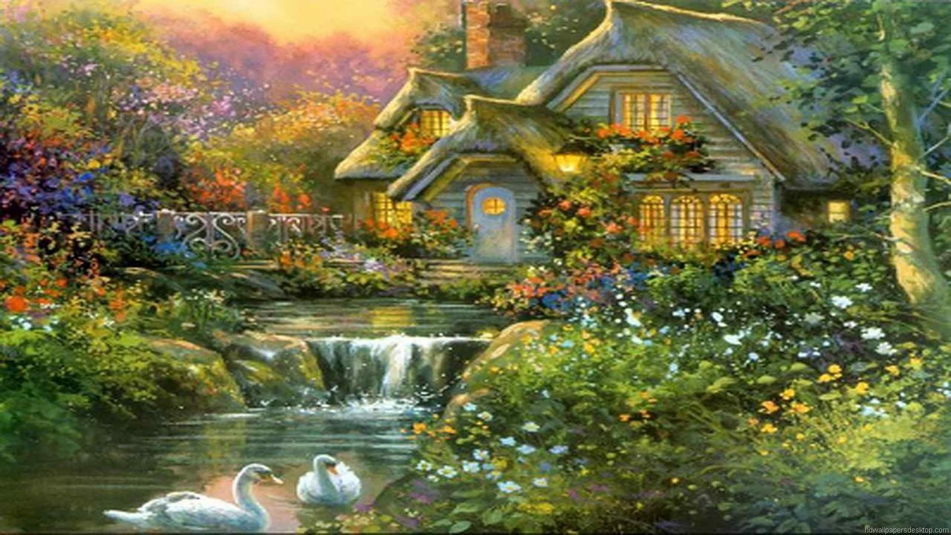 Free Cute Thomas Kinkade iPad Wallpaper