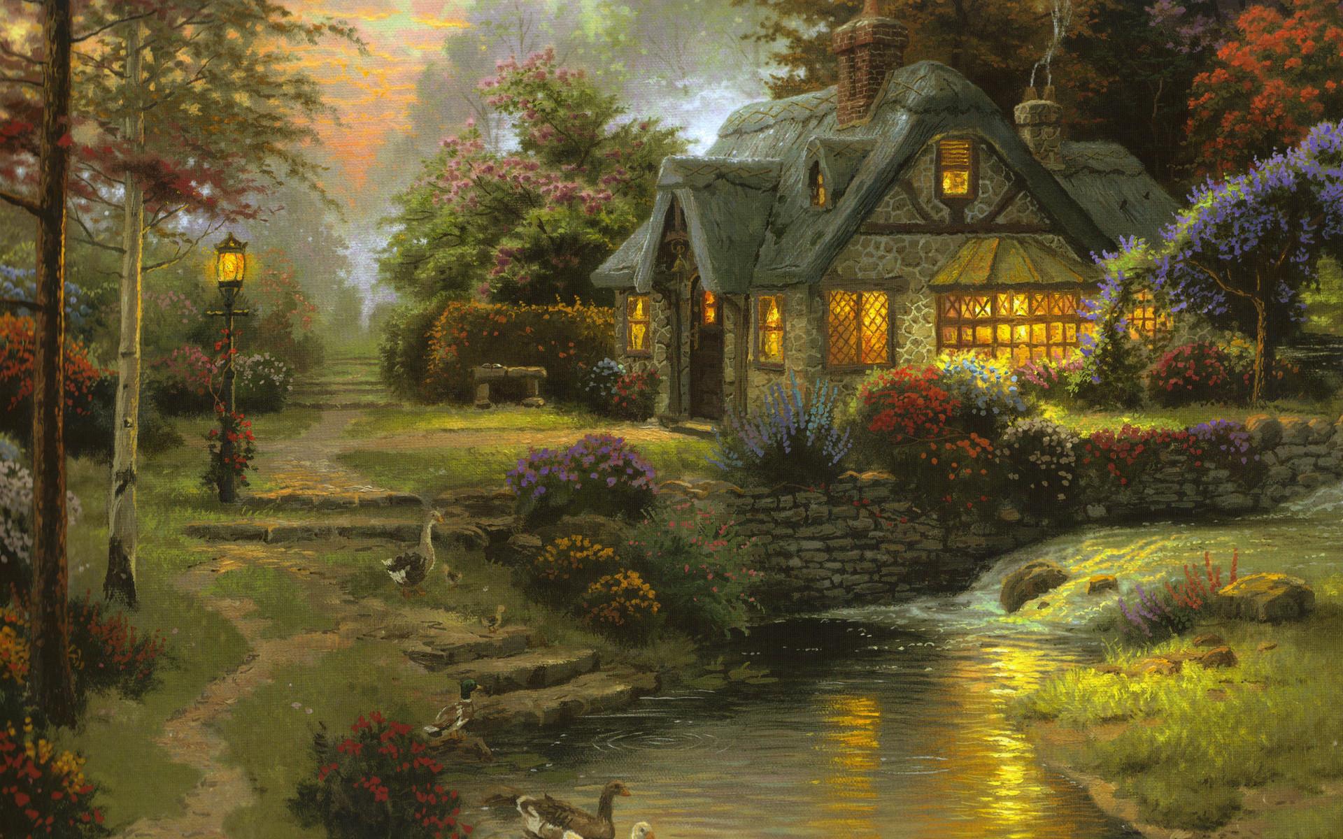 wallpaper-stillwater-cottage-thomas-kinkade-painting-art