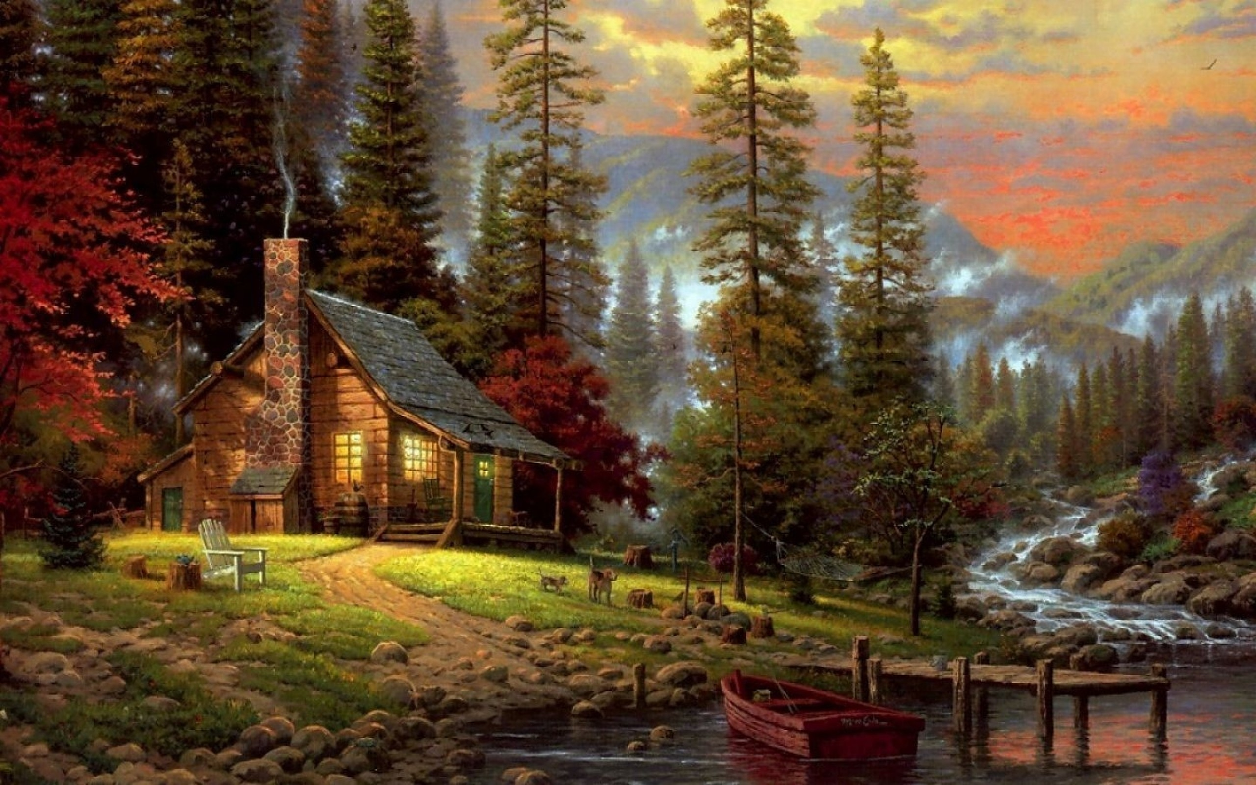 Download Wallpapers, Download nature thomas kinkade peaceful .