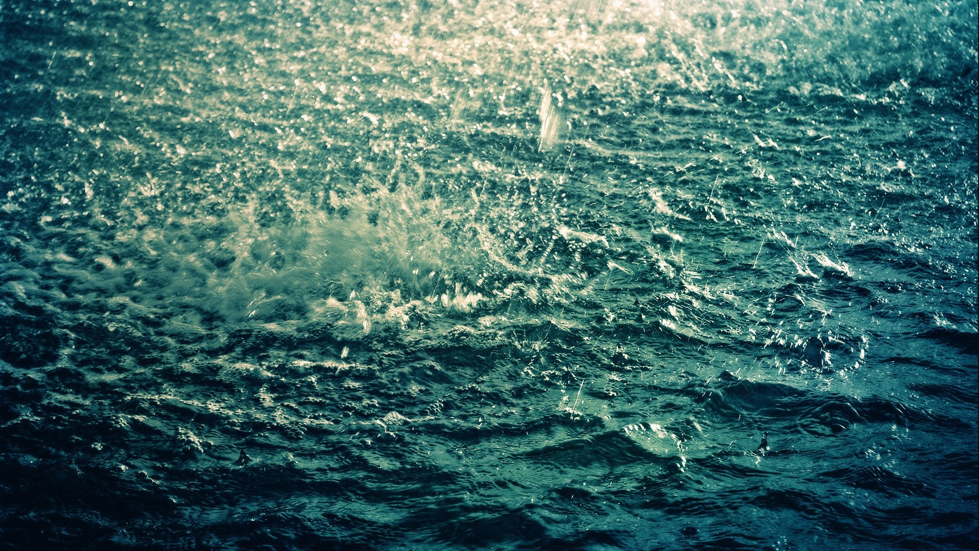 Preview wallpaper sea, rain, drops, splashes, ripples, waves, bad weather