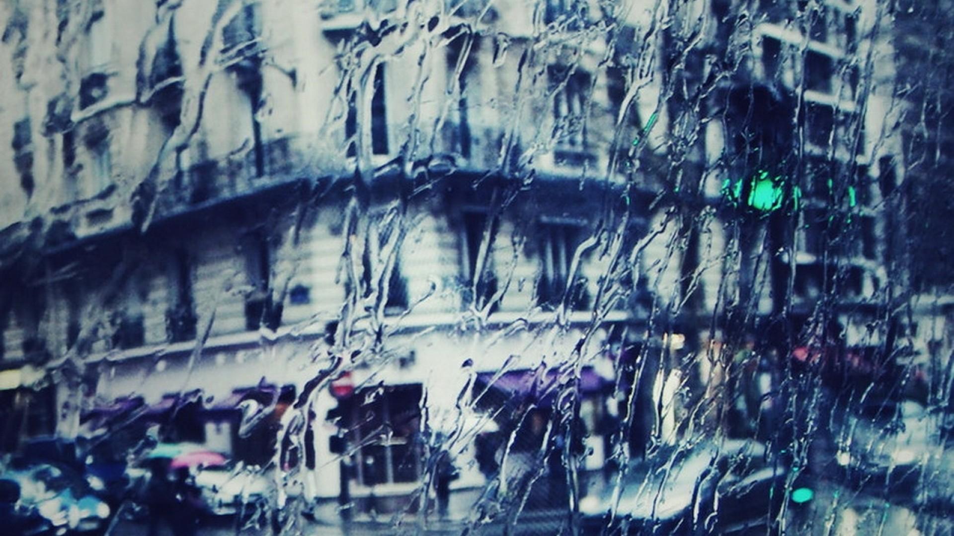 Preview wallpaper city , rain, light, glass, building 1920×1080