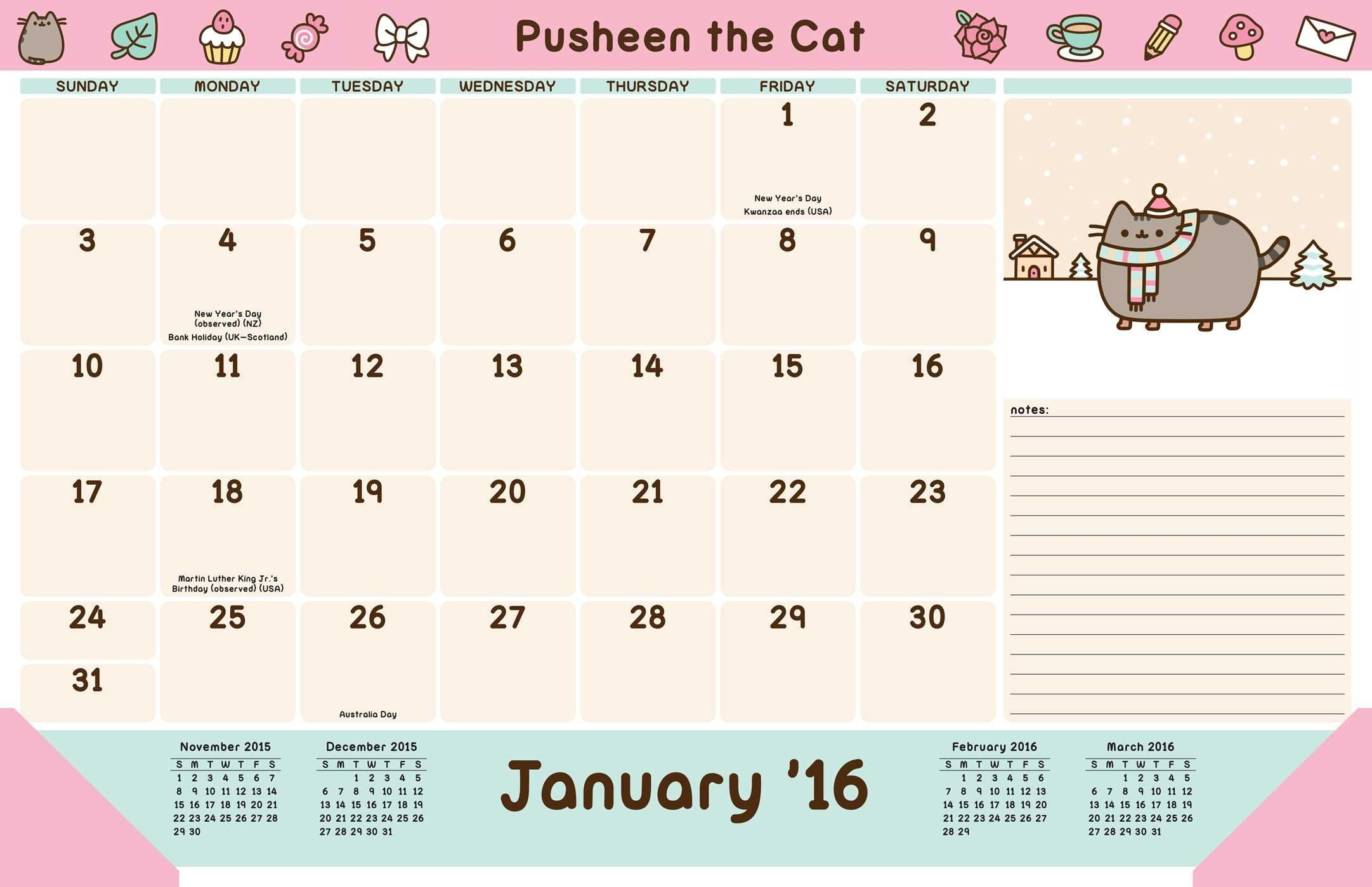Pusheen Official 2017 Calendar – Square 305x305mm Wall Calendar .