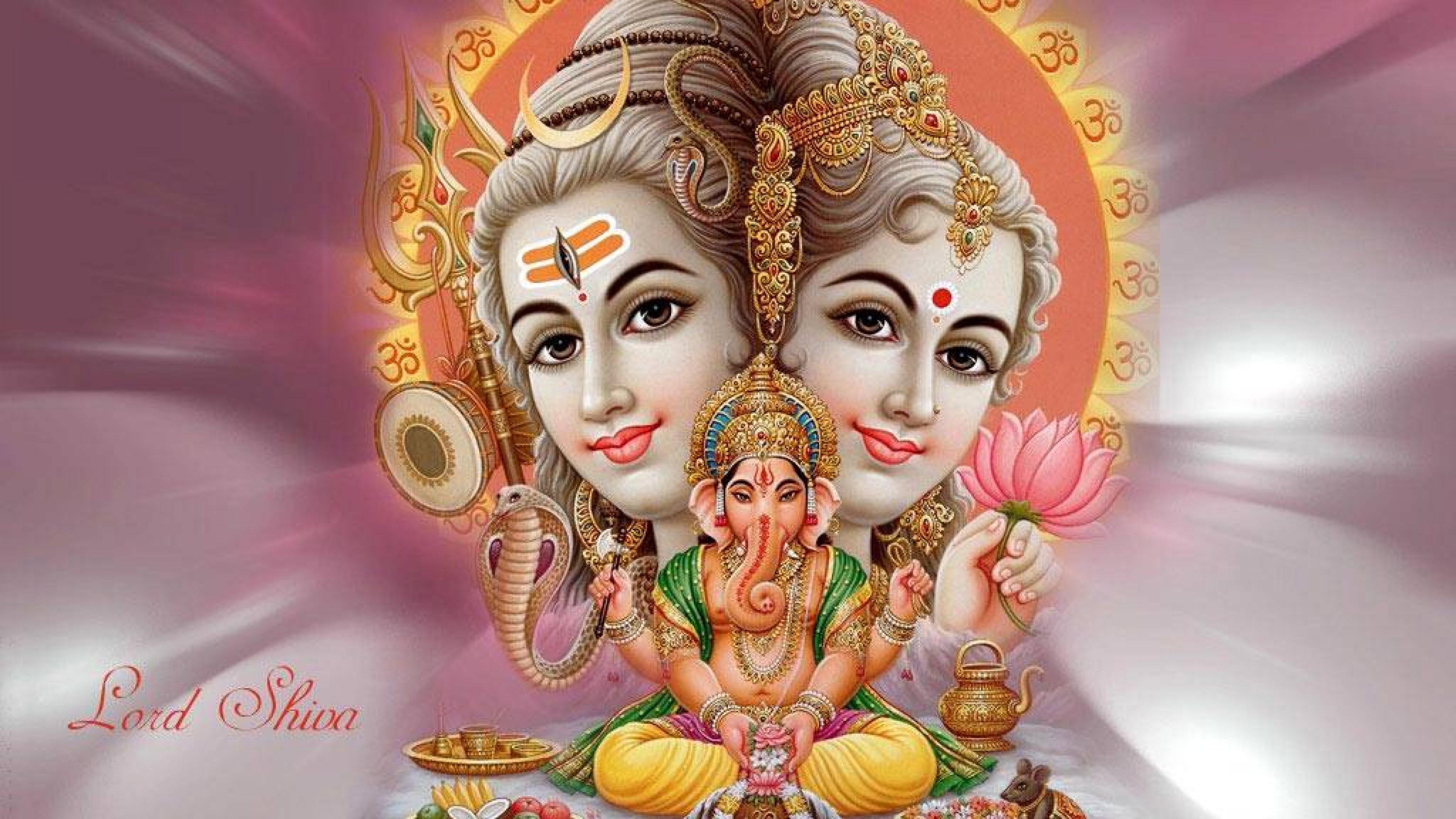 Download Lord Ganesha Lord Shiva Parvati Wallpaper