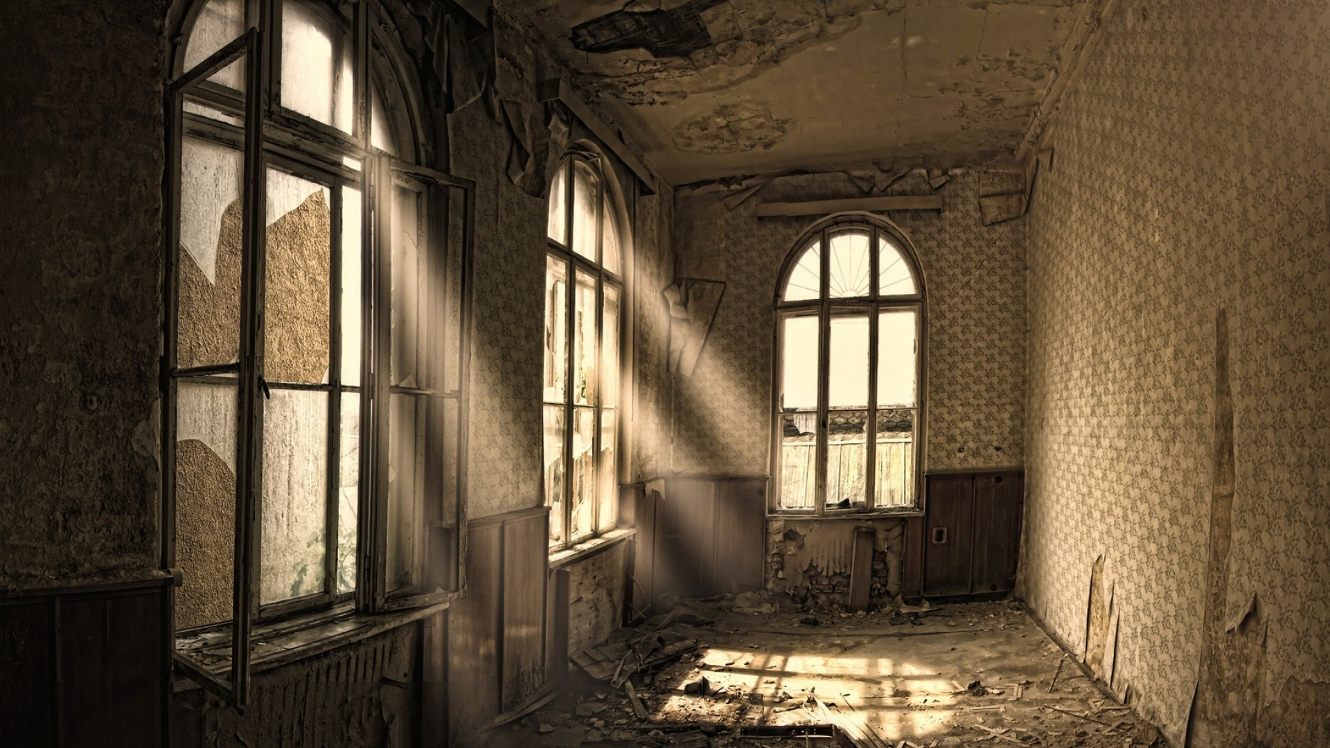 Preview wallpaper building, old, room, ruin, windows 1920×1080