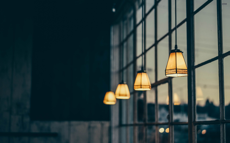Vintage Lamps In The Window Wallpaper