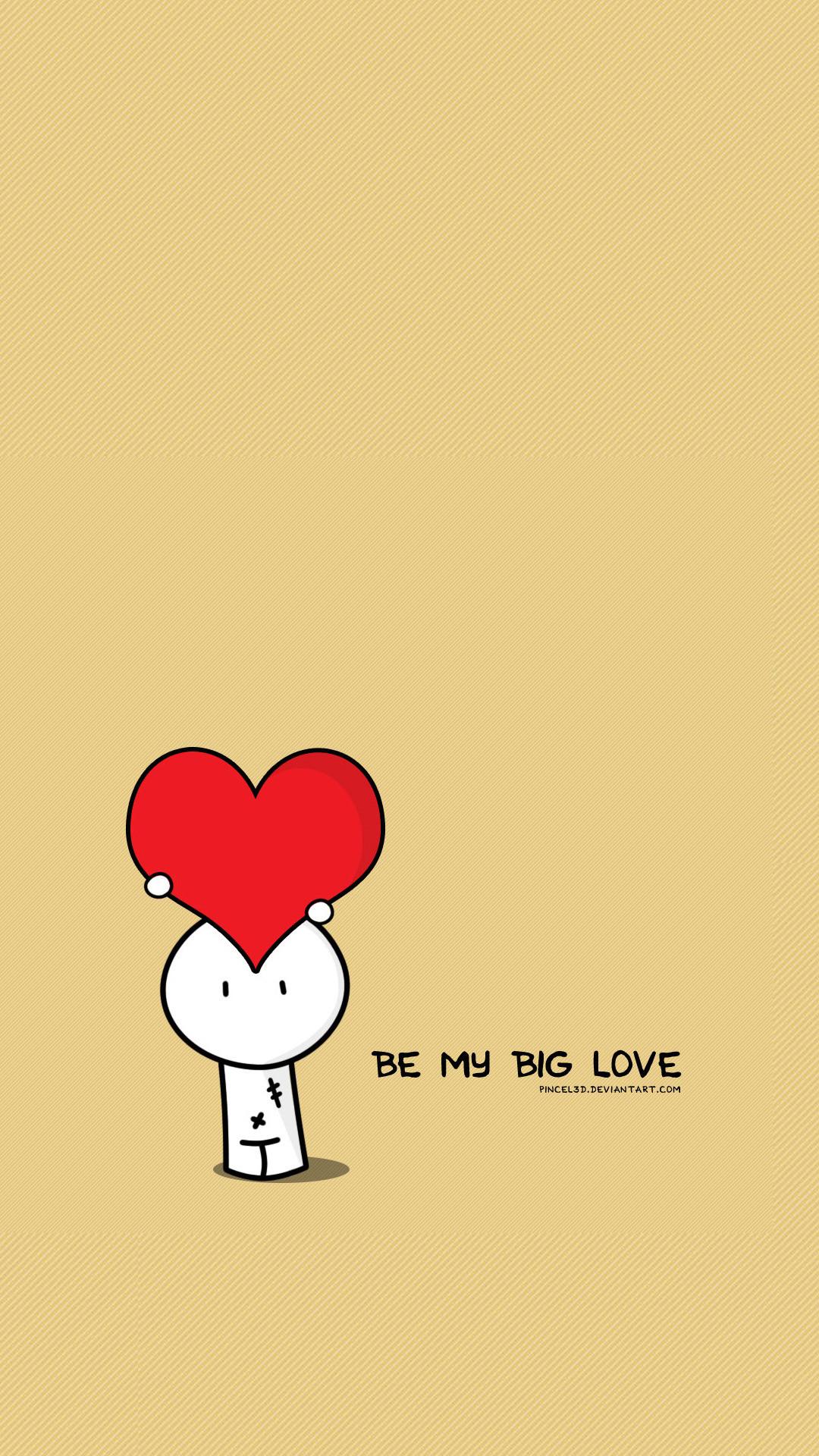 Be My Big Love Valentines Illustration #iPhone #6 #plus #wallpaper
