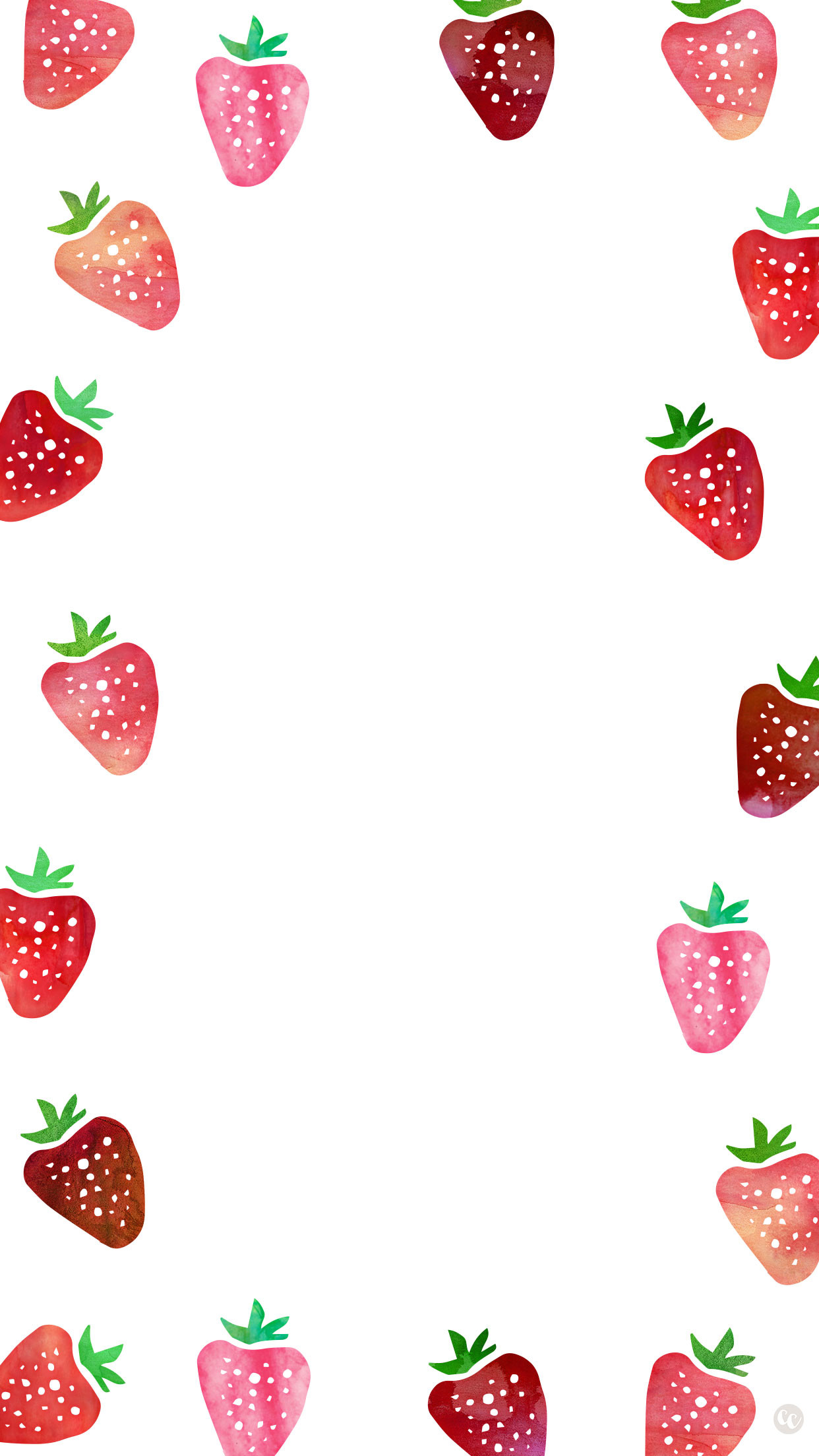 Dress up your smartphone with this cute strawberry wallpaper! Also  available for desktop and iPad