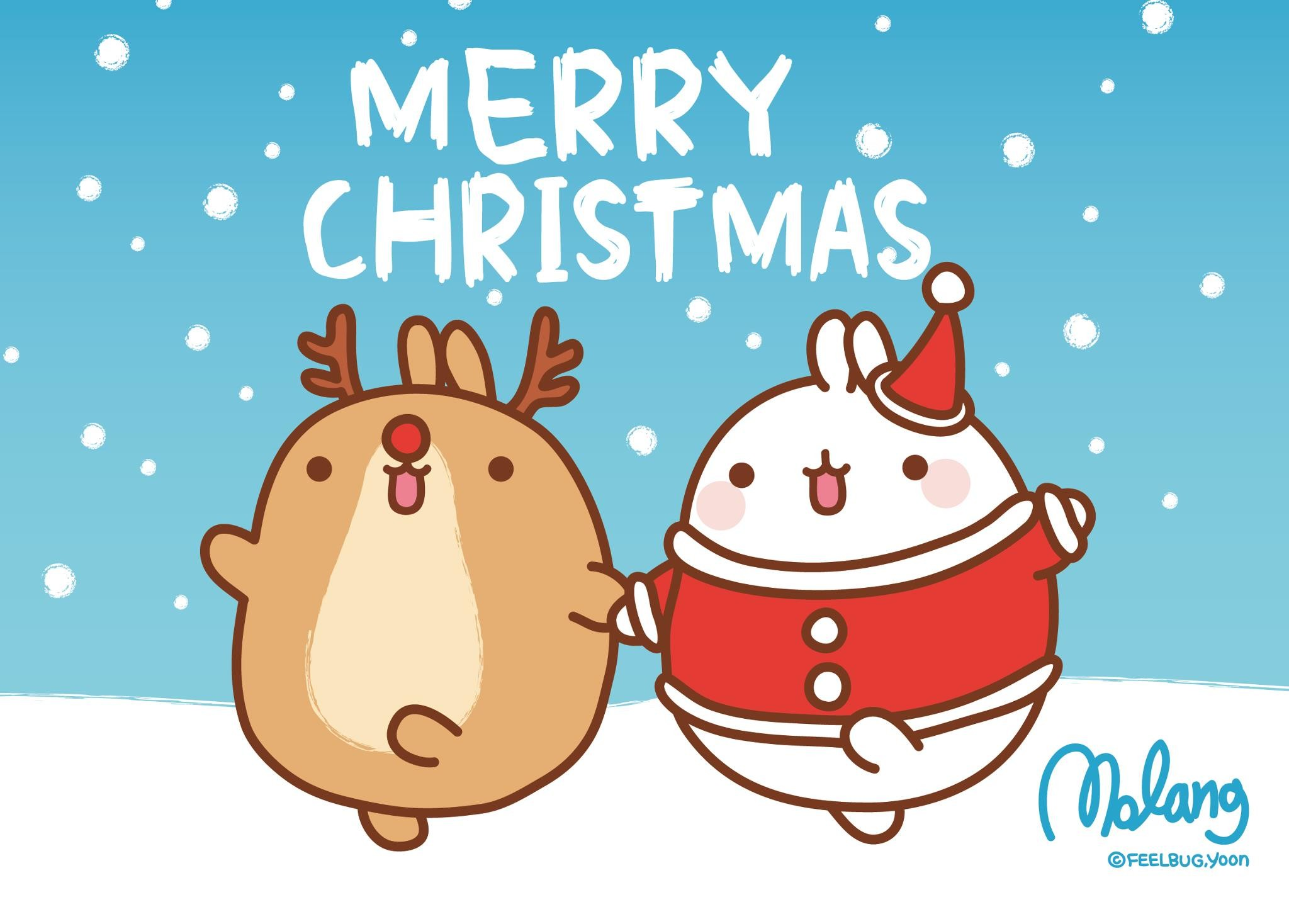 San-X Molang Christmas Desktop Wallpapers – Here are 3 super cute Molang  Desktop Backgrounds