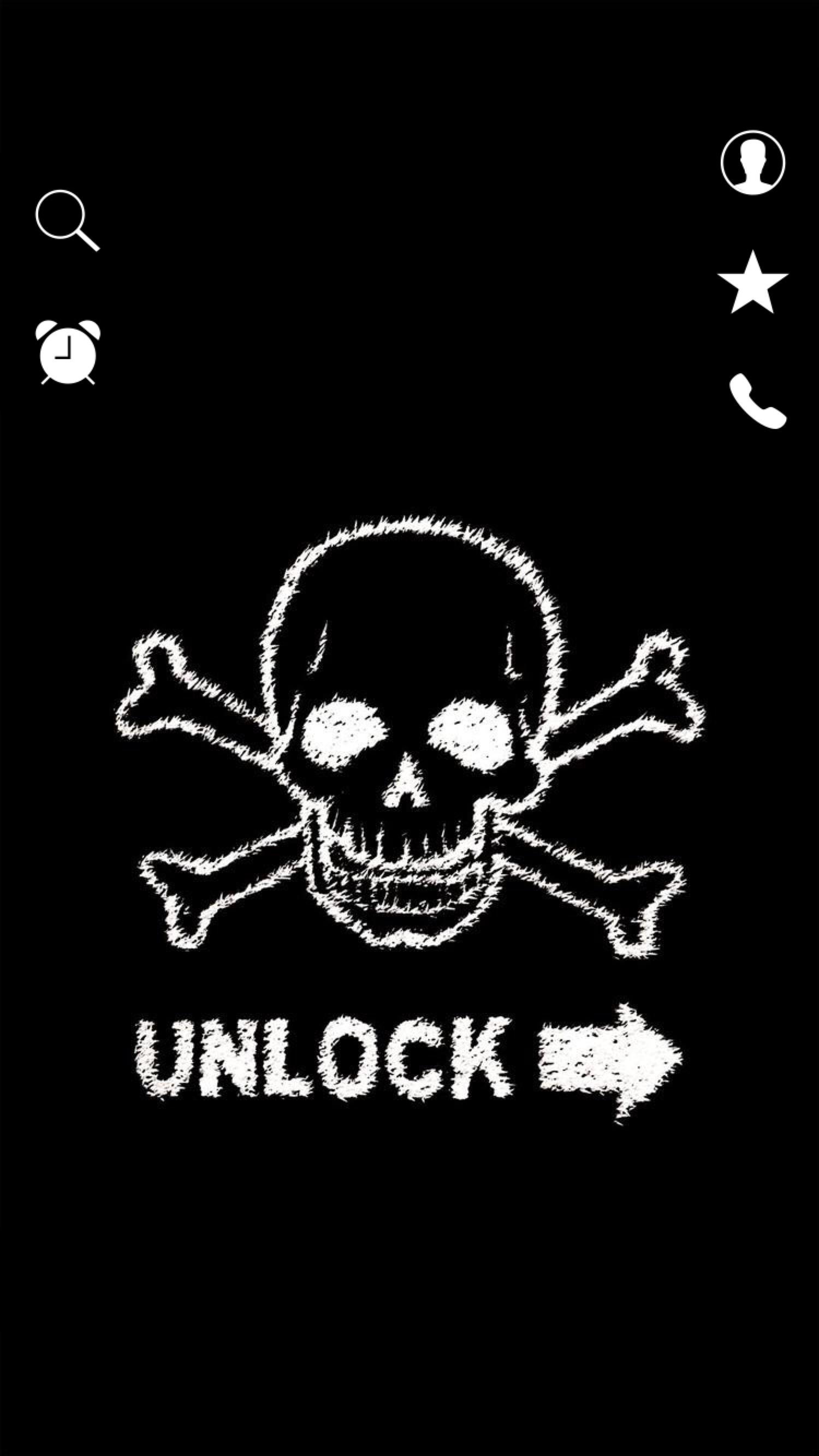 Lockscreens Art Creative Skull Crossbones Unlock Black