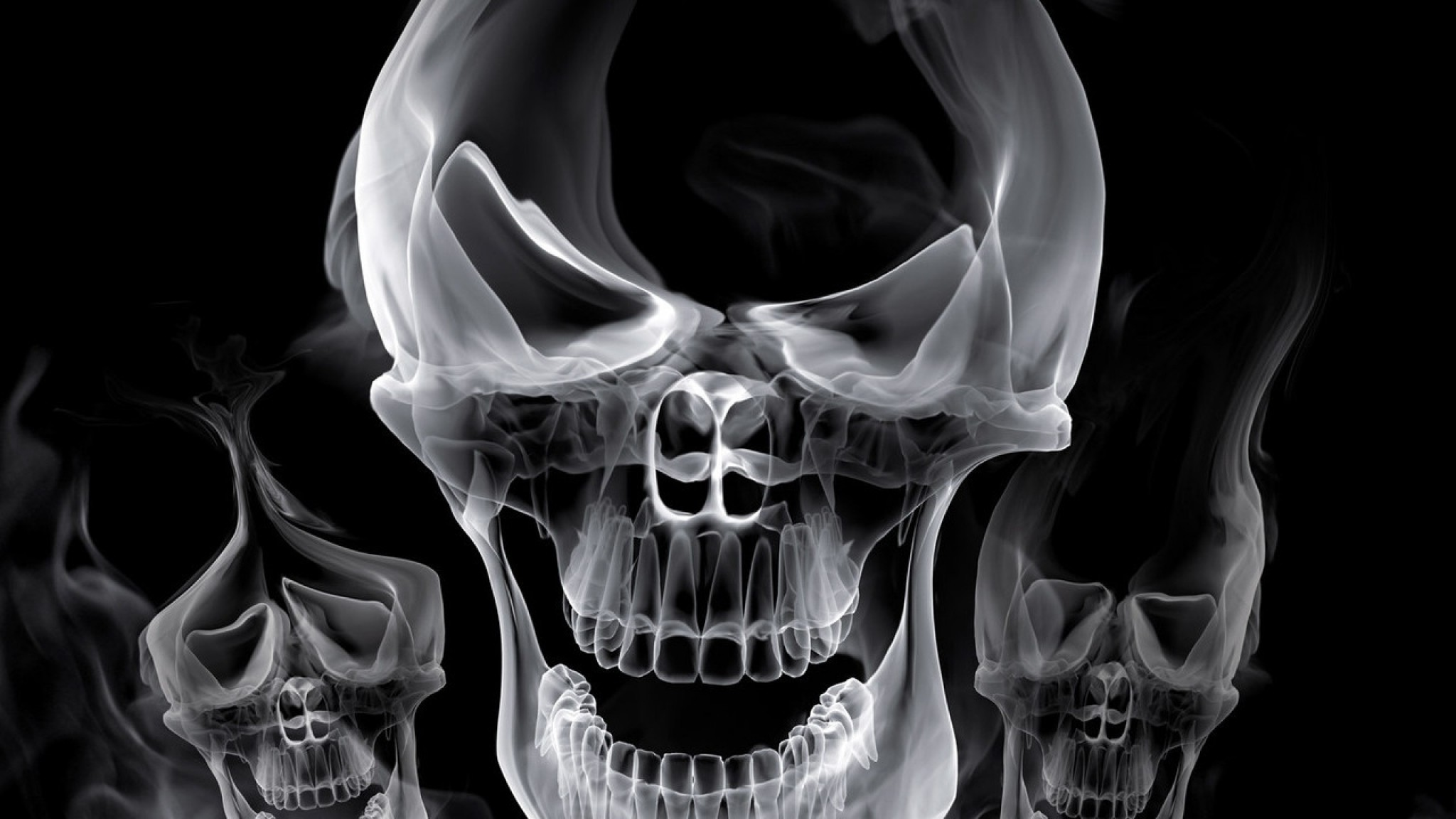 Preview wallpaper skull, smoke, shape, gray 2048×1152