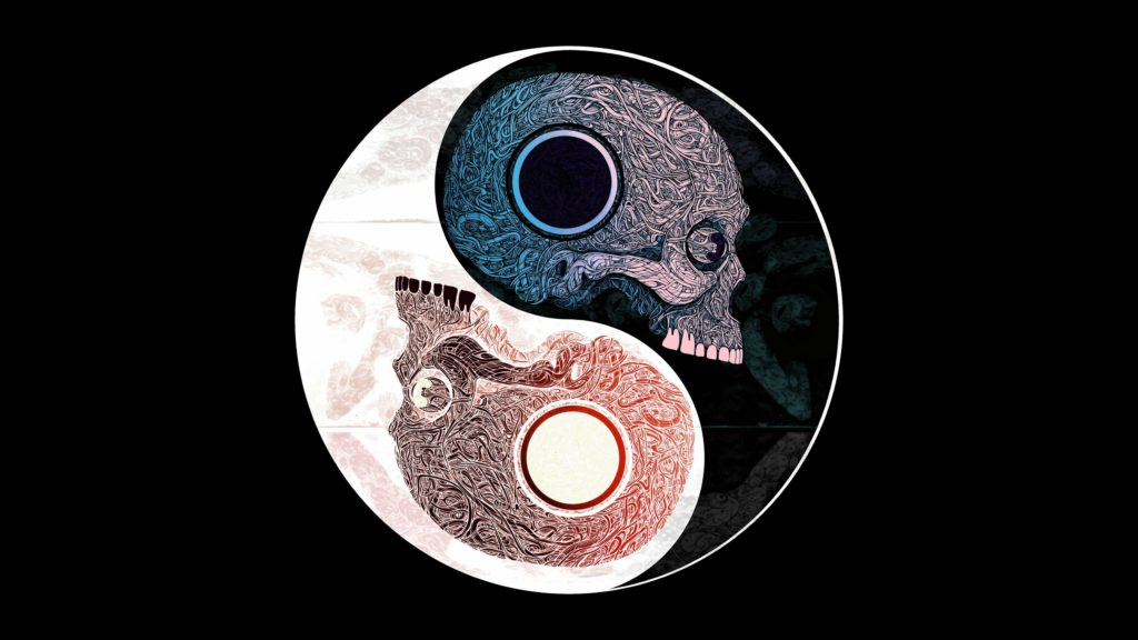 Ying Yang Skull Wallpaper