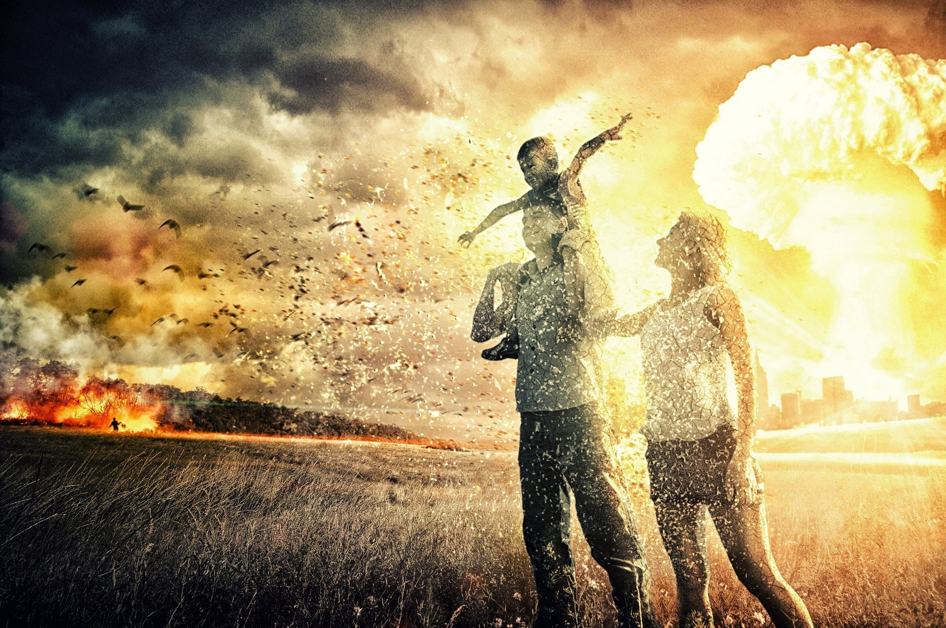 nuclear explosion war family heath the field people