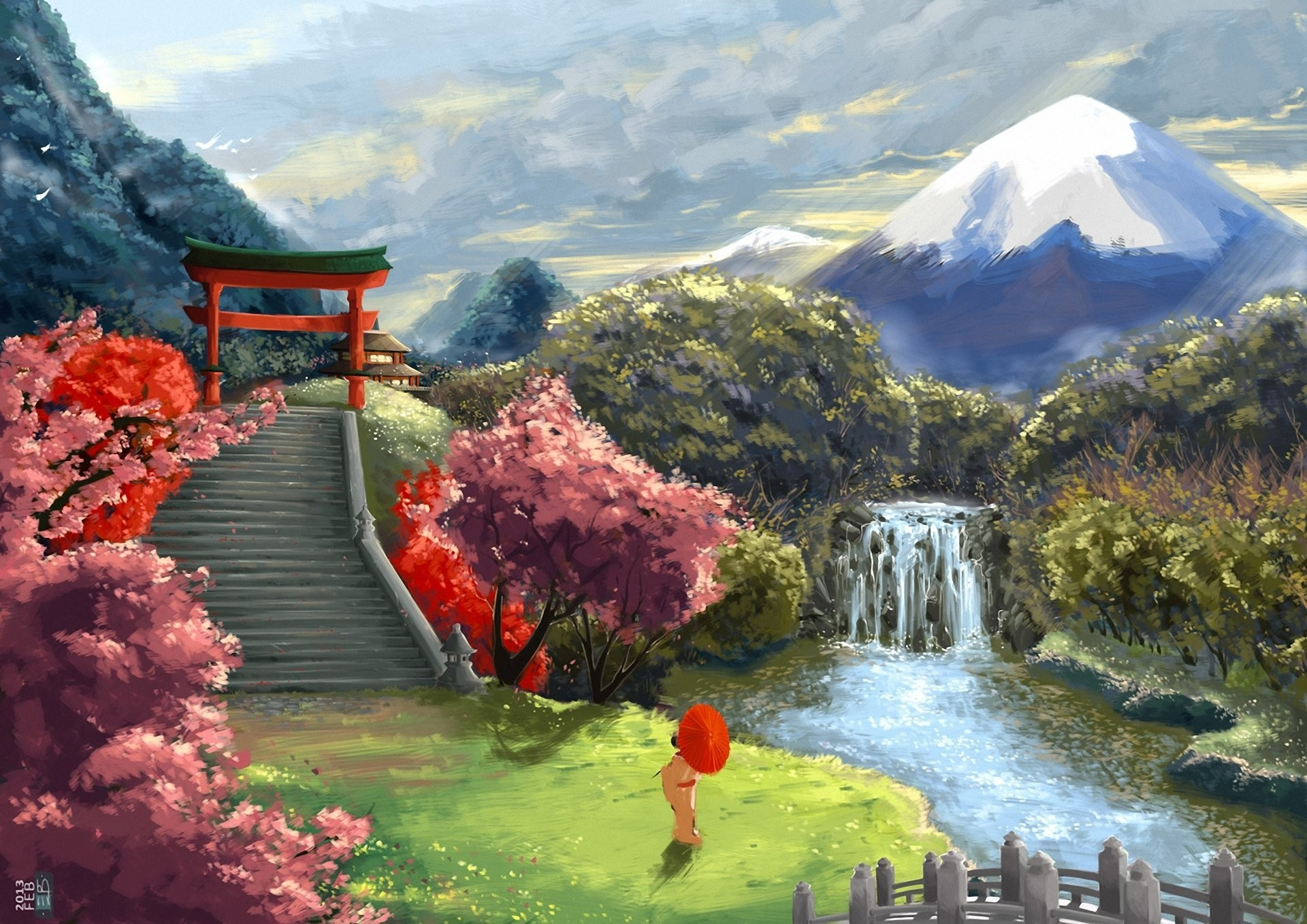 art landscape asia geisha umbrella sakura stairs gate mountain waterfall  river