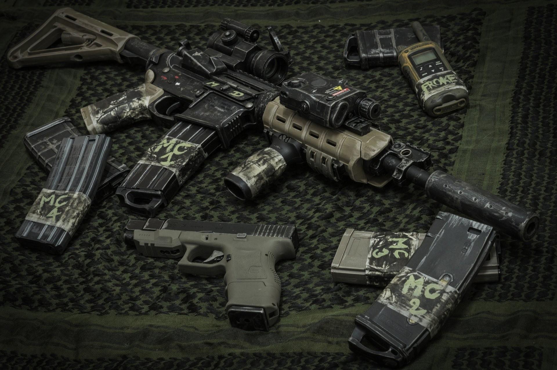 m4 assault rifle carabiner weapon glock 26