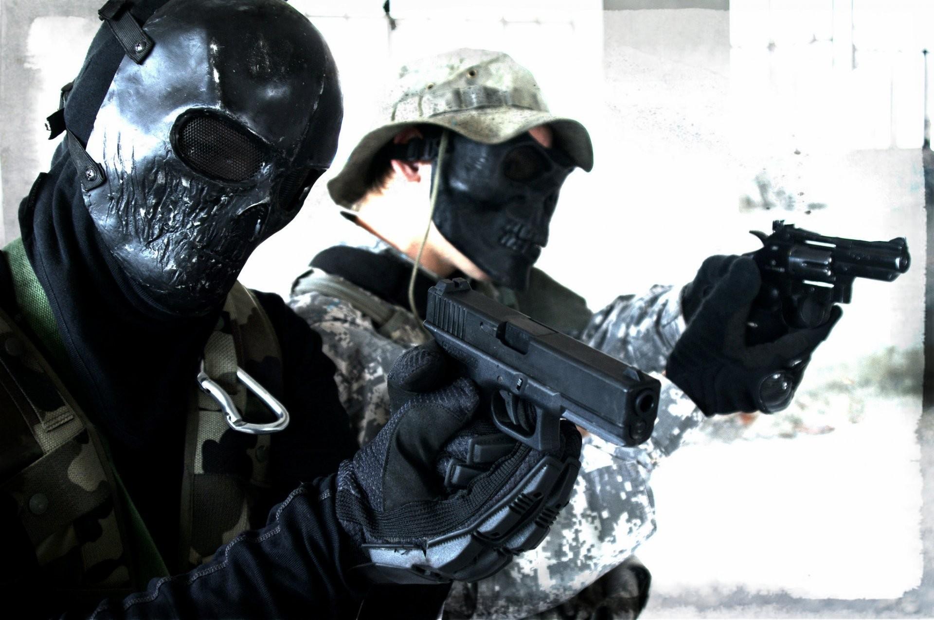 men masks glock revolver guns weapon